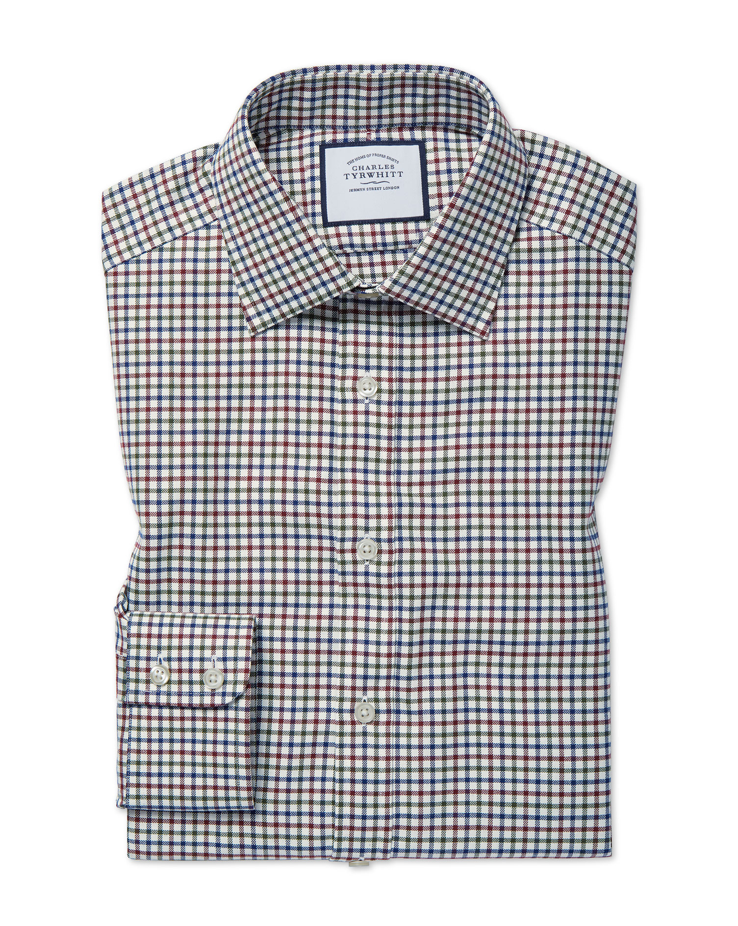 Cotton Classic Fit Country Check Navy And Berry Shirt