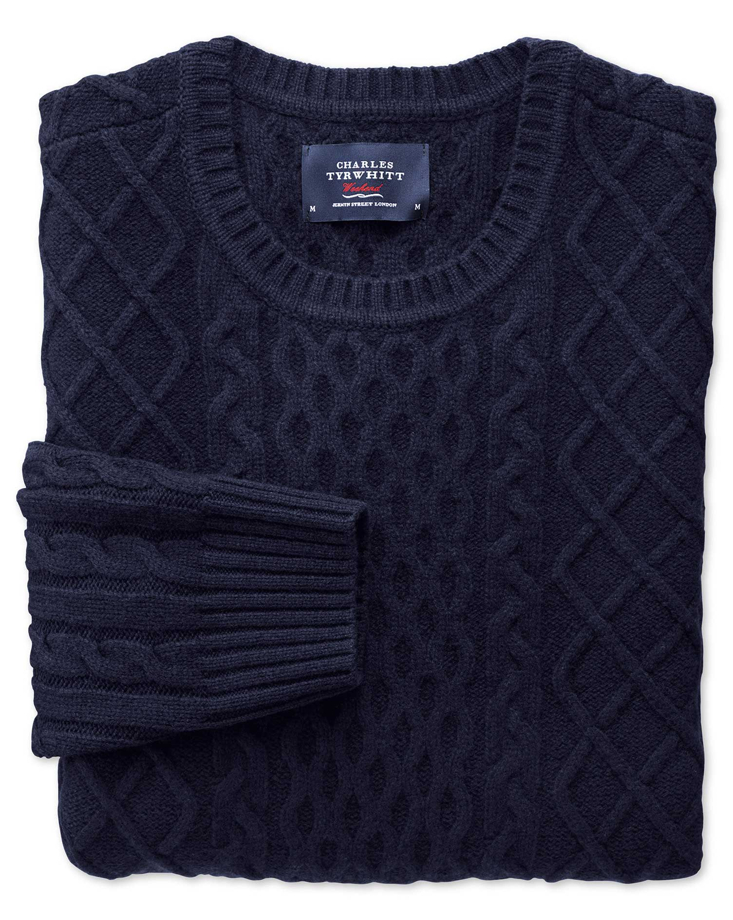 Navy Lambswool Cable Crew Neck Jumper Size Medium by Charles Tyrwhitt