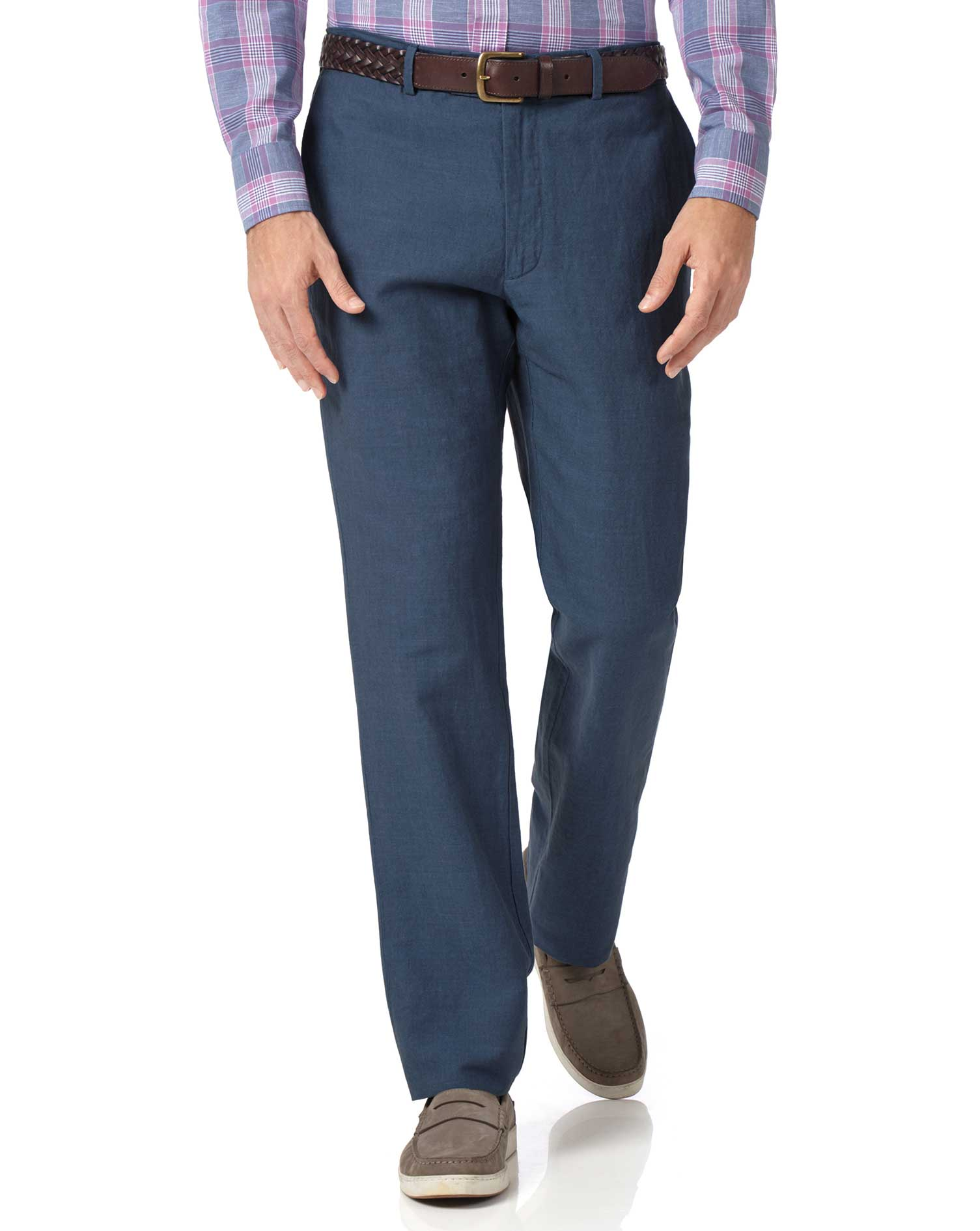 Airforce Blue Classic Fit Cotton Linen Trousers Size W32 L34 by Charles Tyrwhitt