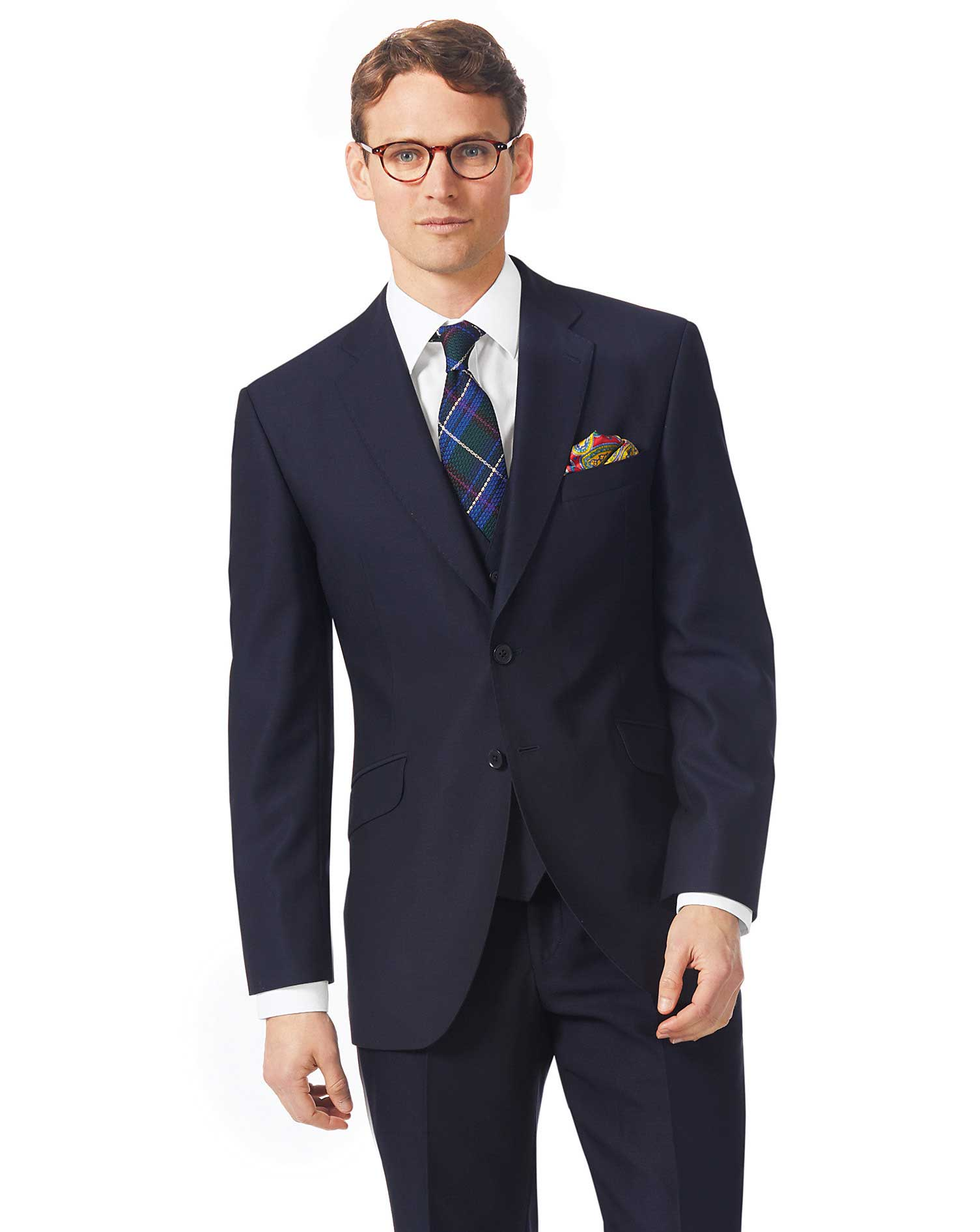 Navy Classic Fit Textured Italian Suit Wool Jacket Size 42 Regular by Charles Tyrwhitt
