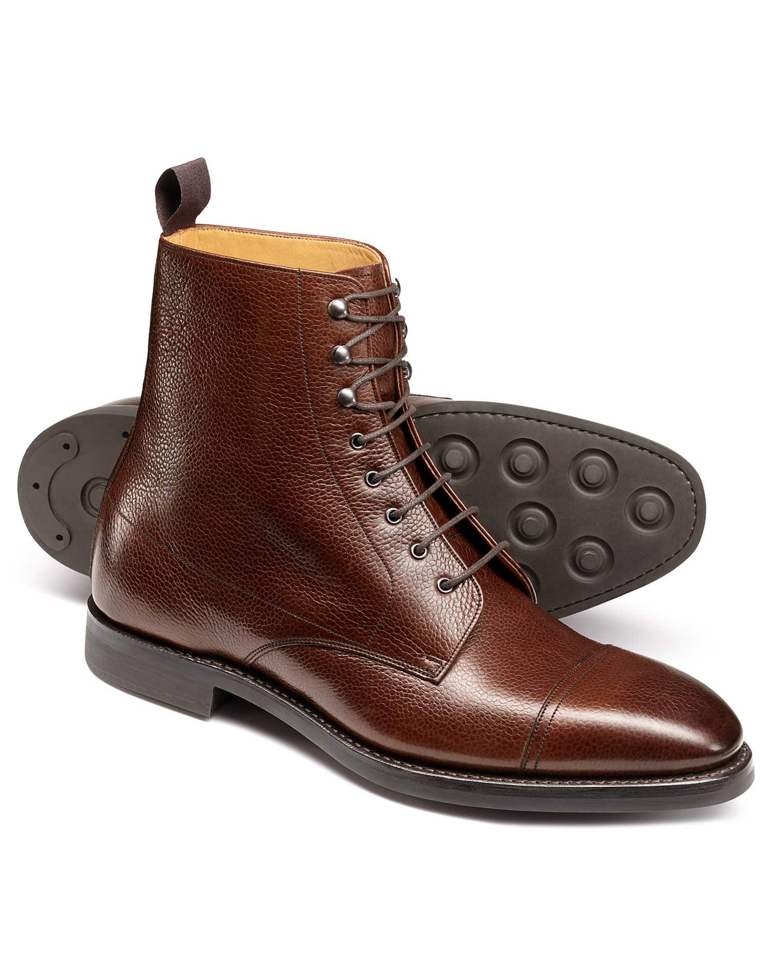 Brown Goodyear Welted Toe Cap Boots Size 10 R by Charles Tyrwhitt