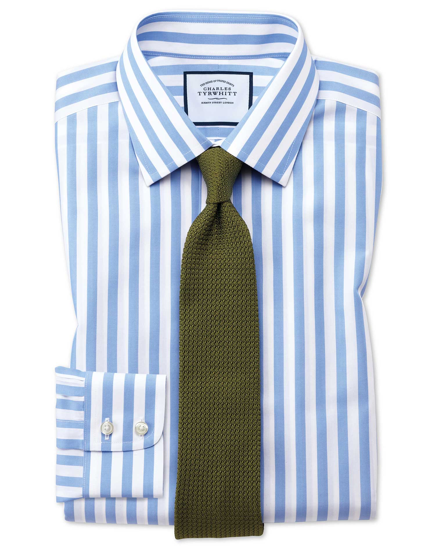 Slim Fit Non-Iron Jermyn Street Stripes Sky Cotton Formal Shirt Single Cuff Size 15.5/34 by Charles