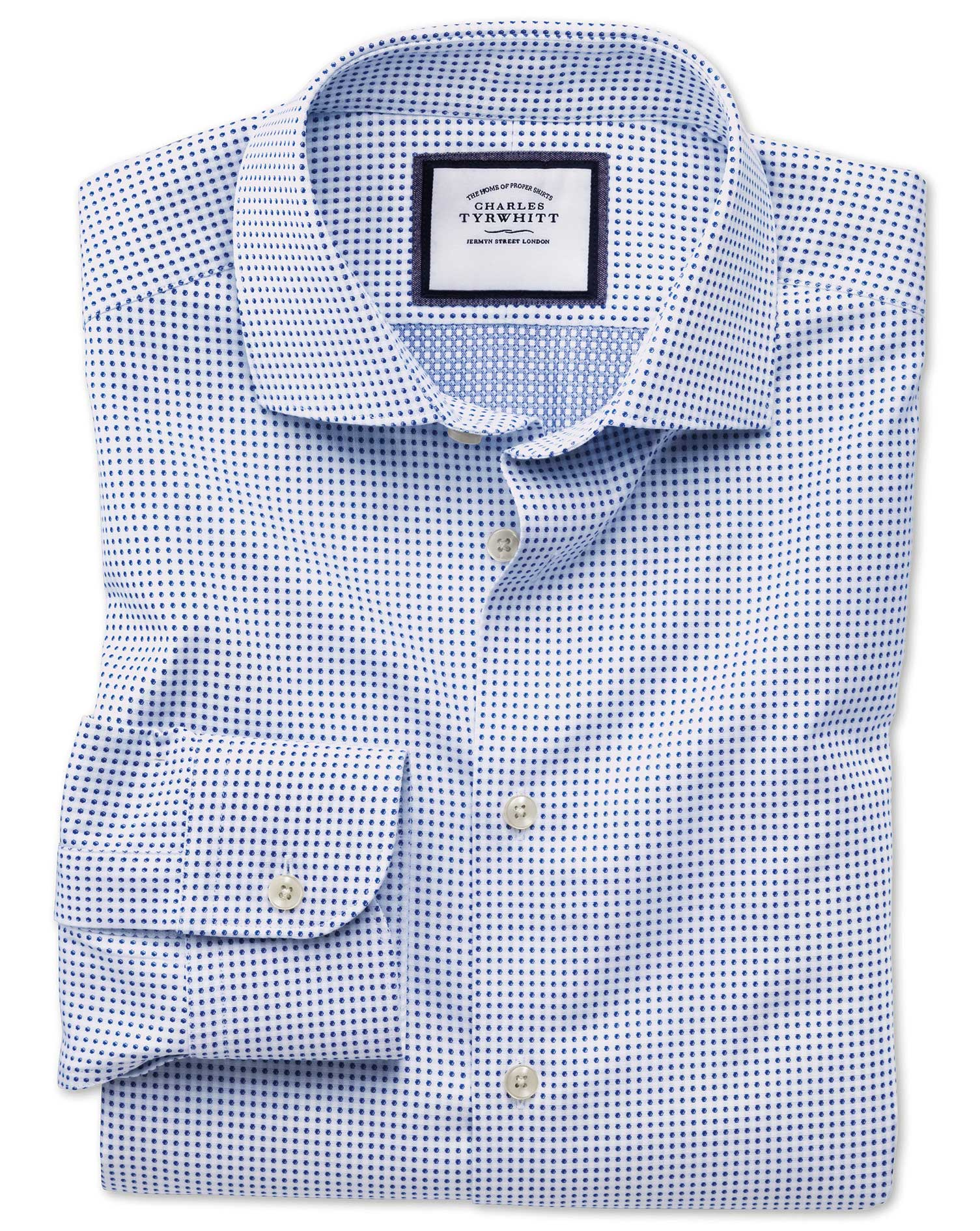 Slim Fit Semi-Cutaway Business Casual White and Navy Spot Egyptian Cotton Formal Shirt Single Cuff S