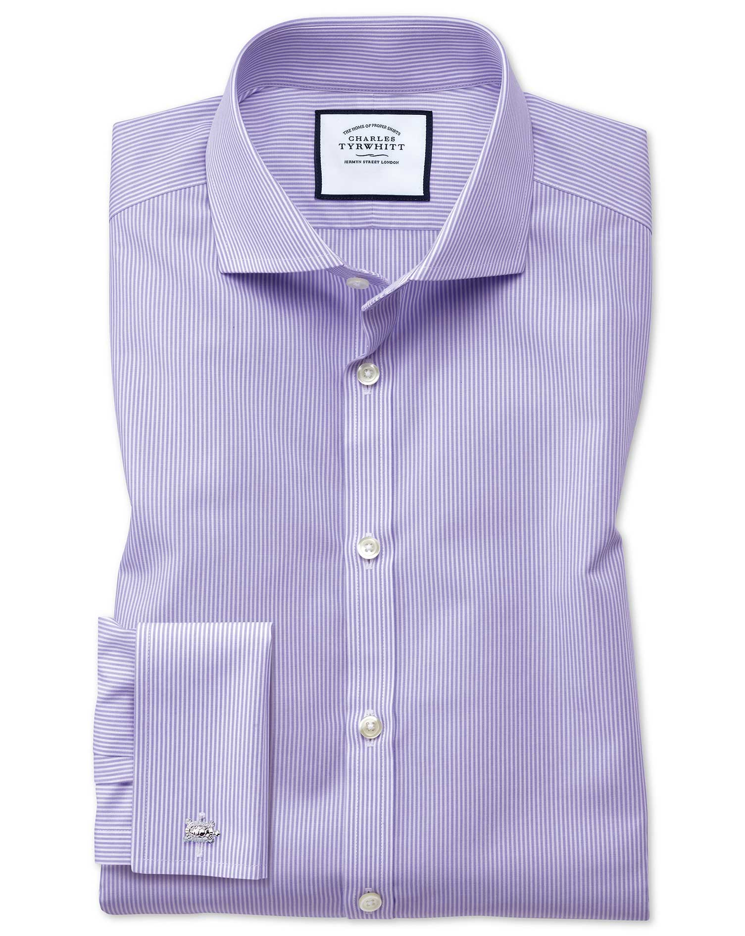 Extra Slim Fit Cutaway Collar Non-Iron Bengal Stripe Lilac Cotton Formal Shirt Double Cuff Size 15.5
