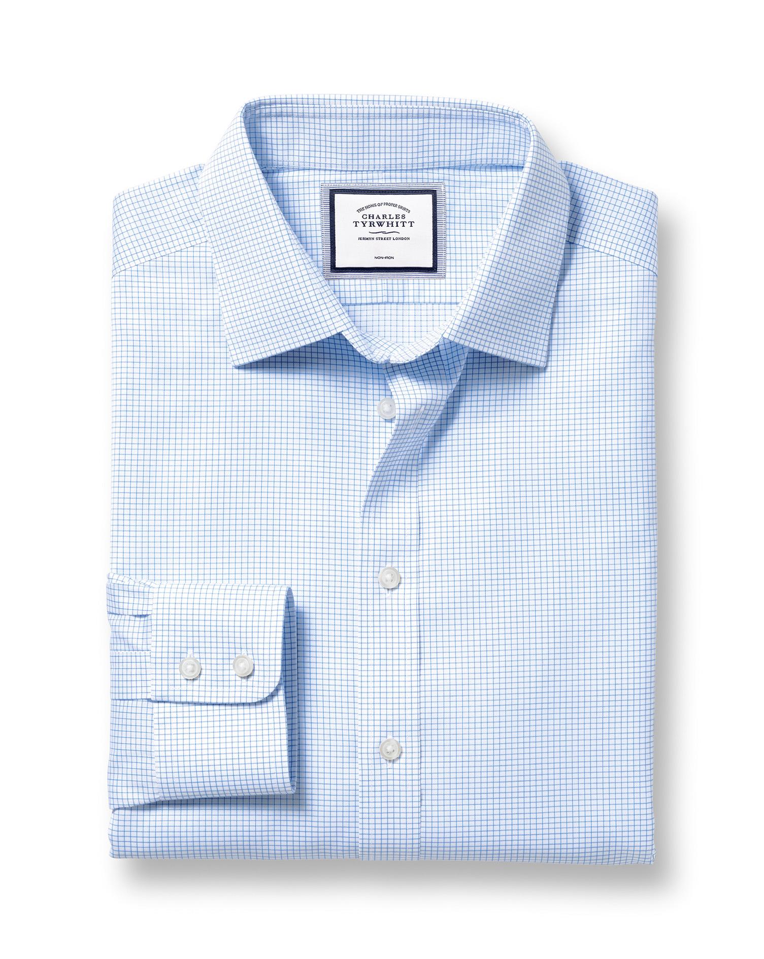 Cotton Classic Collar Non-Iron Twill Mini Grid Check Shirt - Sky
