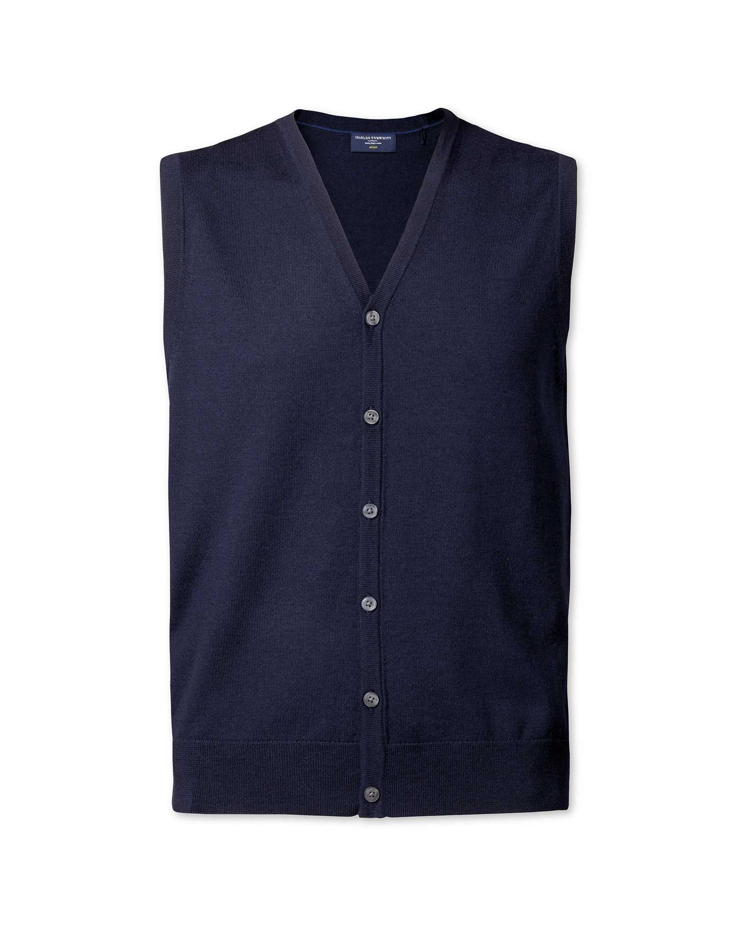 Navy Merino Wool Waistcoat Size Medium by Charles Tyrwhitt