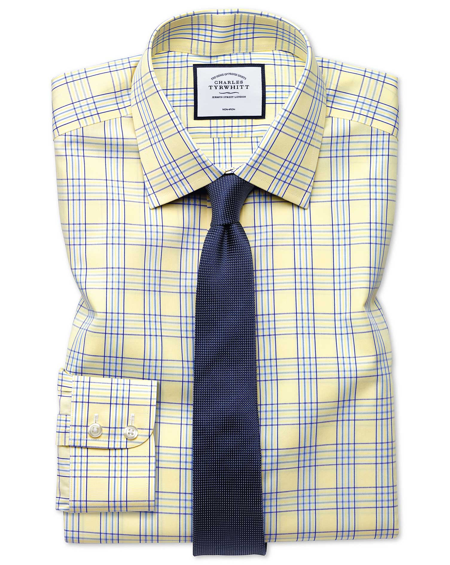 Extra Slim Fit Non-Iron Prince Of Wales Yellow Cotton Formal Shirt Single Cuff Size 15.5/32 by Charl