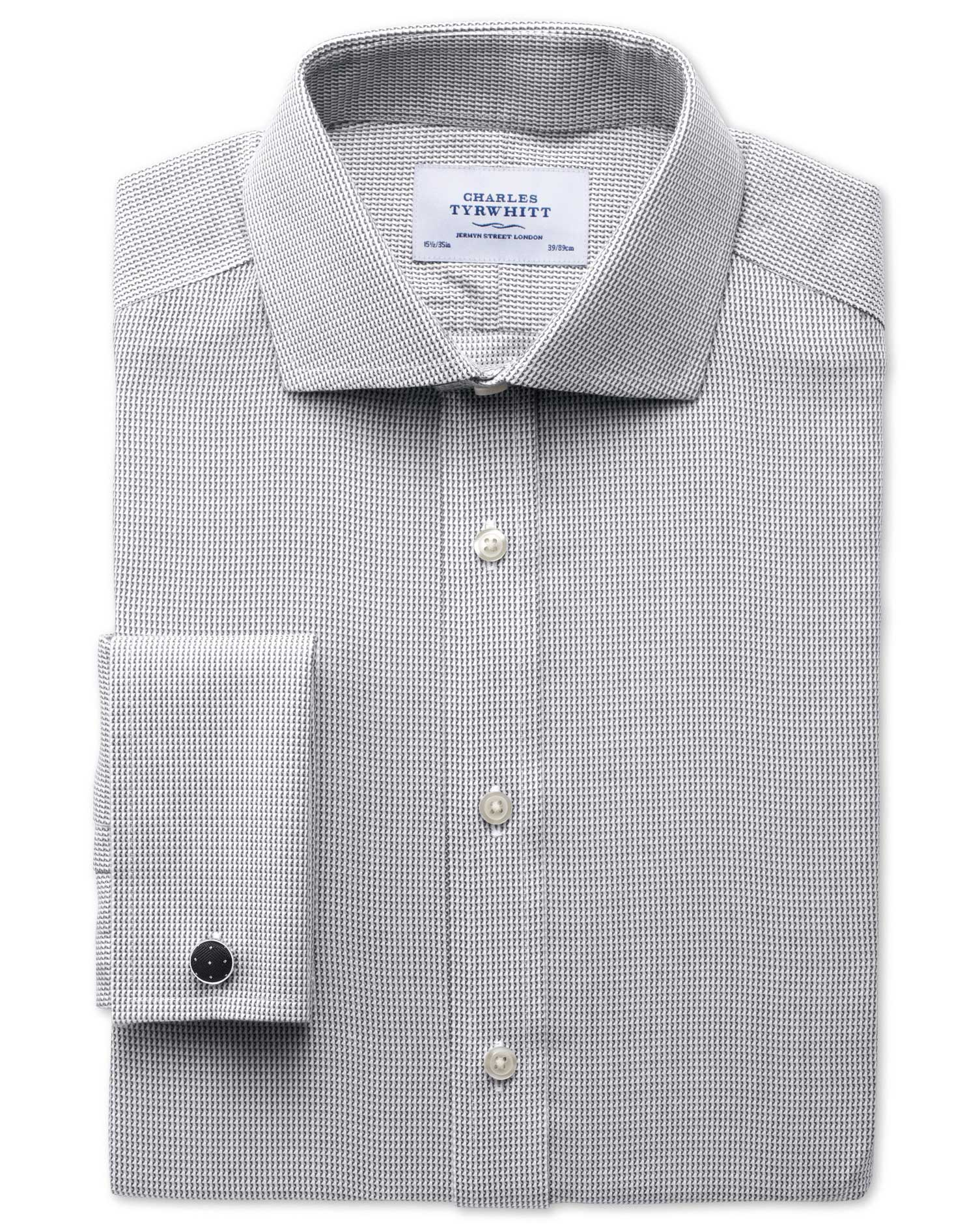 Extra Slim Fit Cutaway Collar Non-Iron Grey Cotton Formal Shirt Single Cuff Size 15.5/35 by Charles