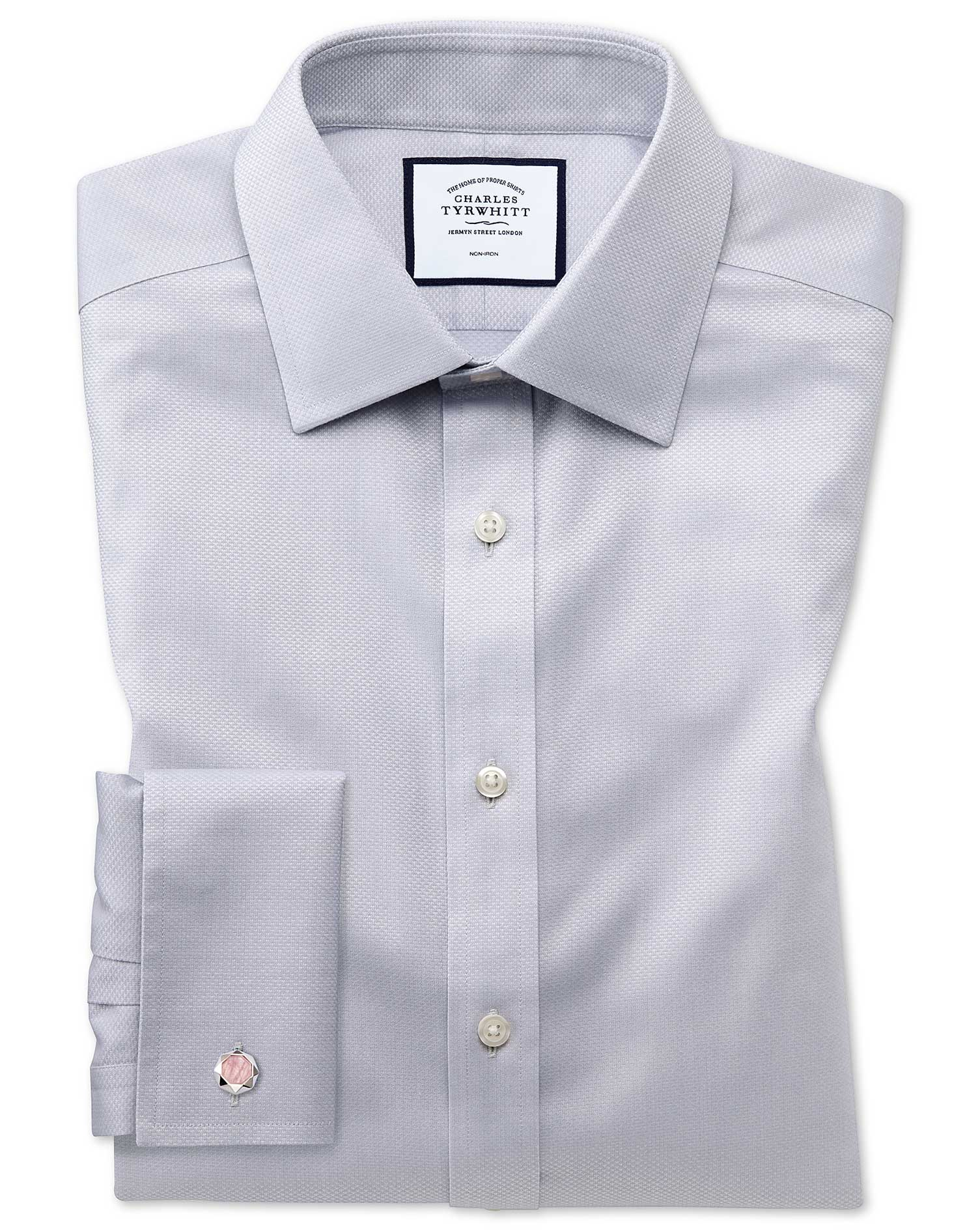 Slim Fit Non-Iron Grey Triangle Weave Cotton Formal Shirt Double Cuff Size 16/34 by Charles Tyrwhitt