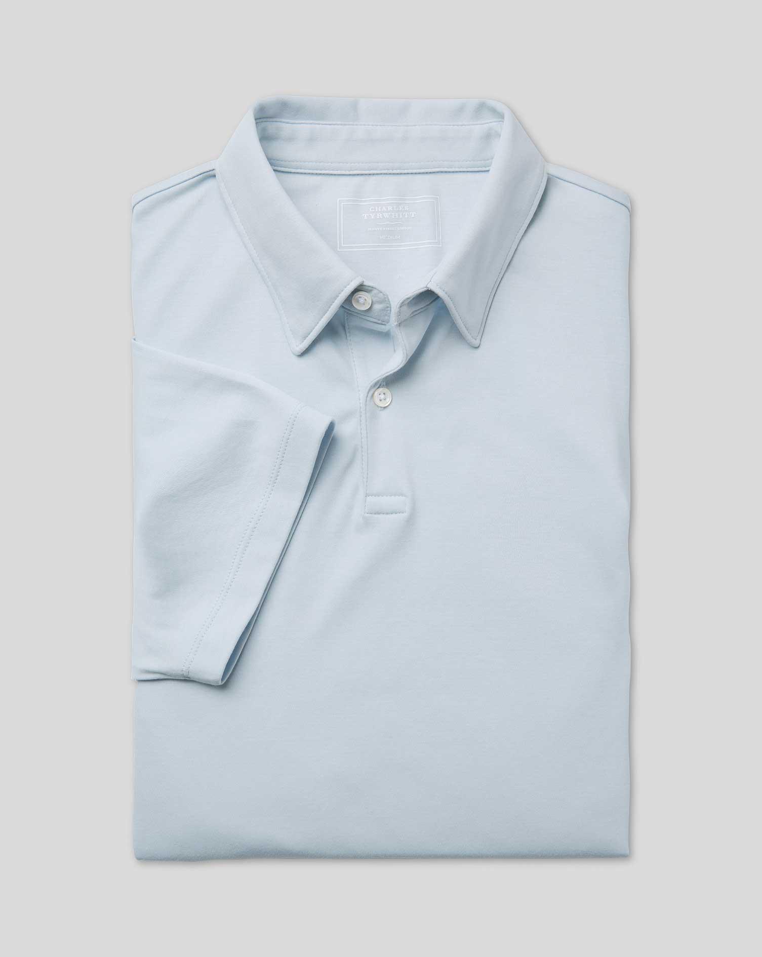 Polo Smart En Jersey - Bleue Glace - Gris - XL par Charles Tyrwhitt
