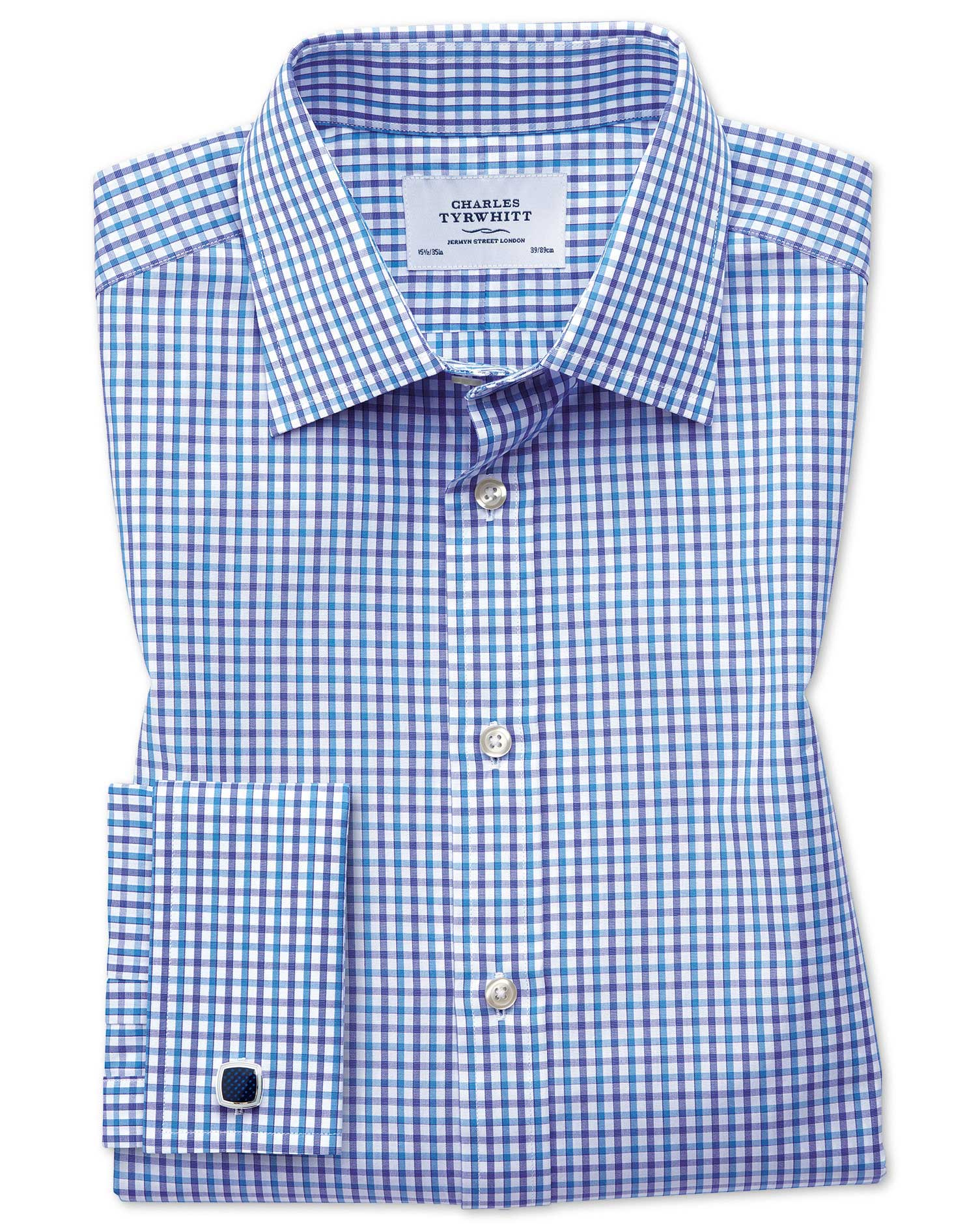Classic Fit Two Colour Check Blue Cotton Formal Shirt Double Cuff Size 15.5/35 by Charles Tyrwhitt
