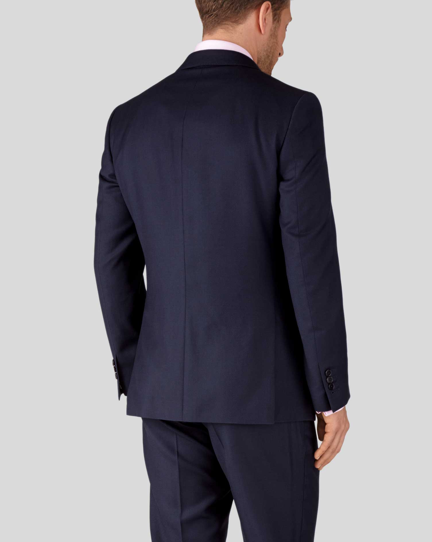 Ink blue slim fit birdseye travel suit jacket