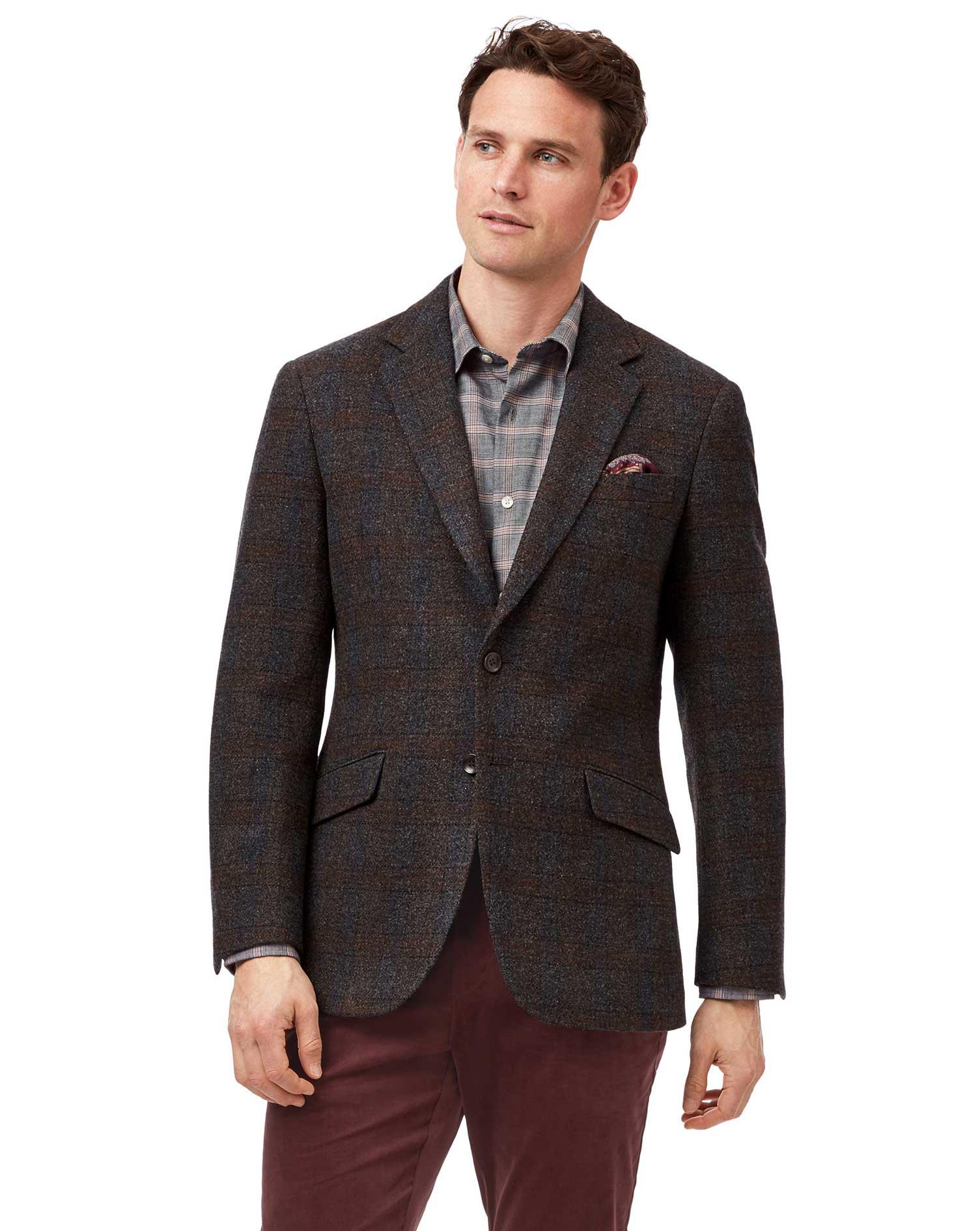Slim Fit Brown Check Textured Wool Jacket