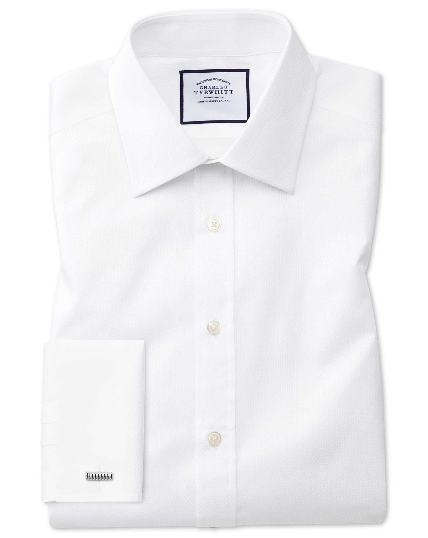 Slim Fit White Cube Weave Egyptian Cotton Formal Shirt Single Cuff Size 17/38 by Charles Tyrwhitt