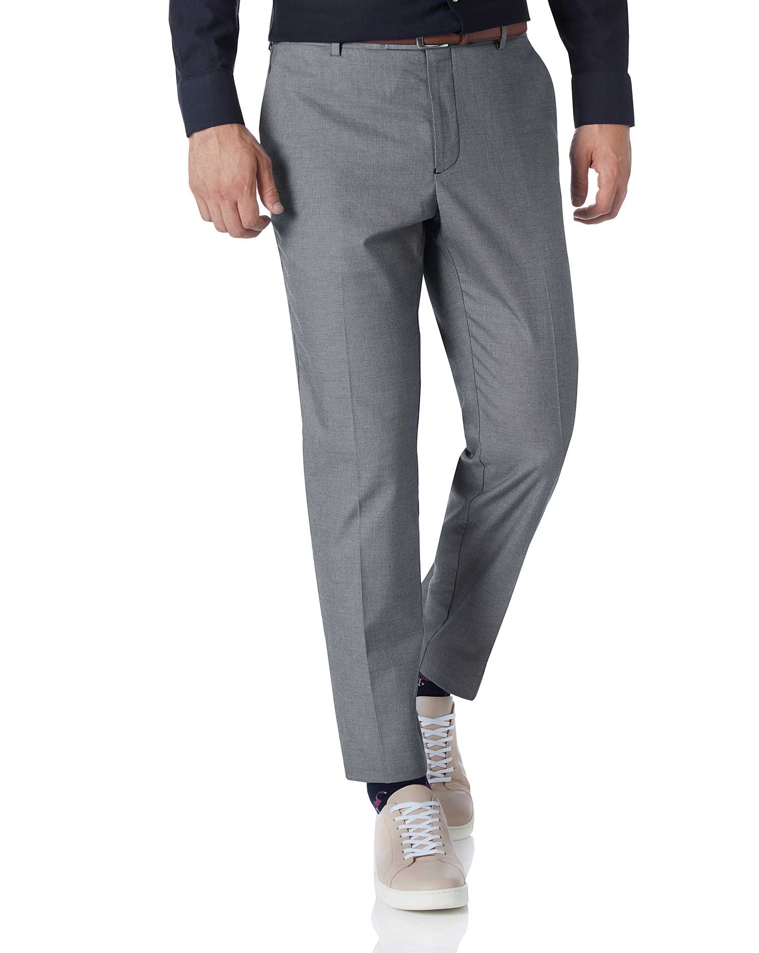 White and Navy Extra Slim Fit Stretch Non-Iron Trousers Size W30 L34 by Charles Tyrwhitt