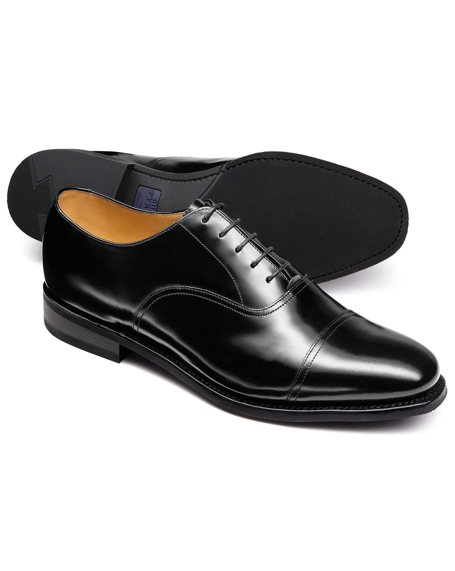 Black Goodyear Welted Oxford Rubber Sole Shoe Size 12 R by Charles Tyrwhitt