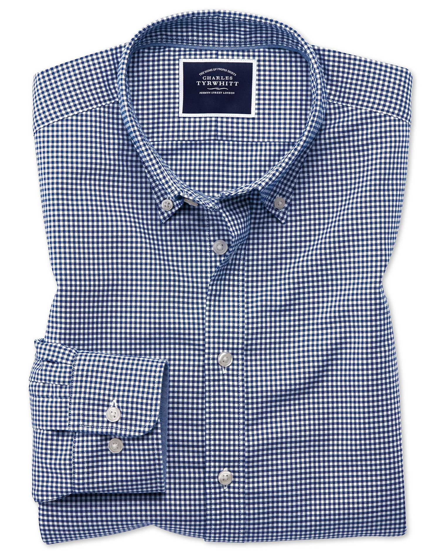 Extra Slim Fit Royal Blue Gingham Soft Washed Non-Iron Stretch Cotton Shirt Single Cuff Size Medium