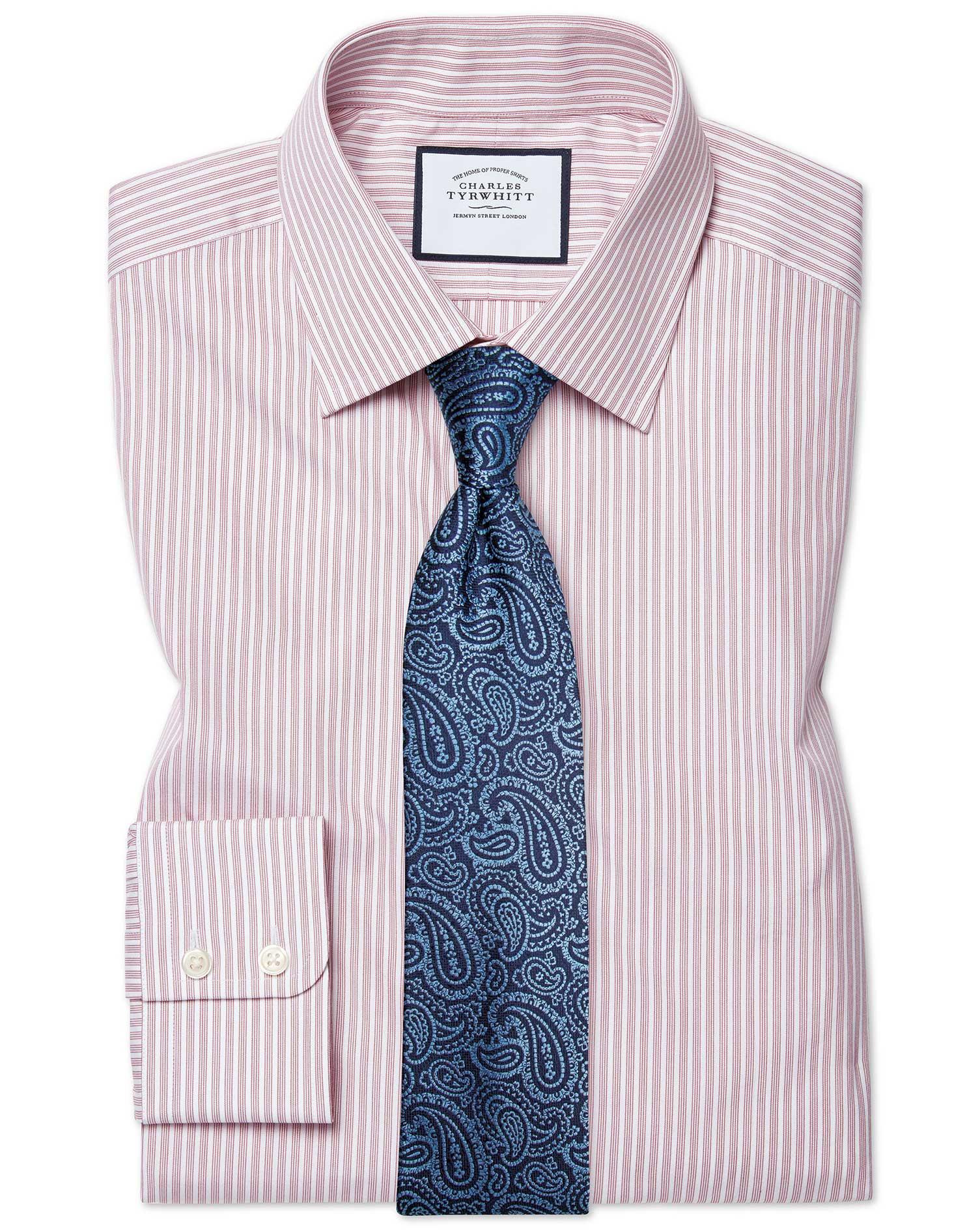Cotton Classic Fit Poplin Fine Stripe Pink Shirt