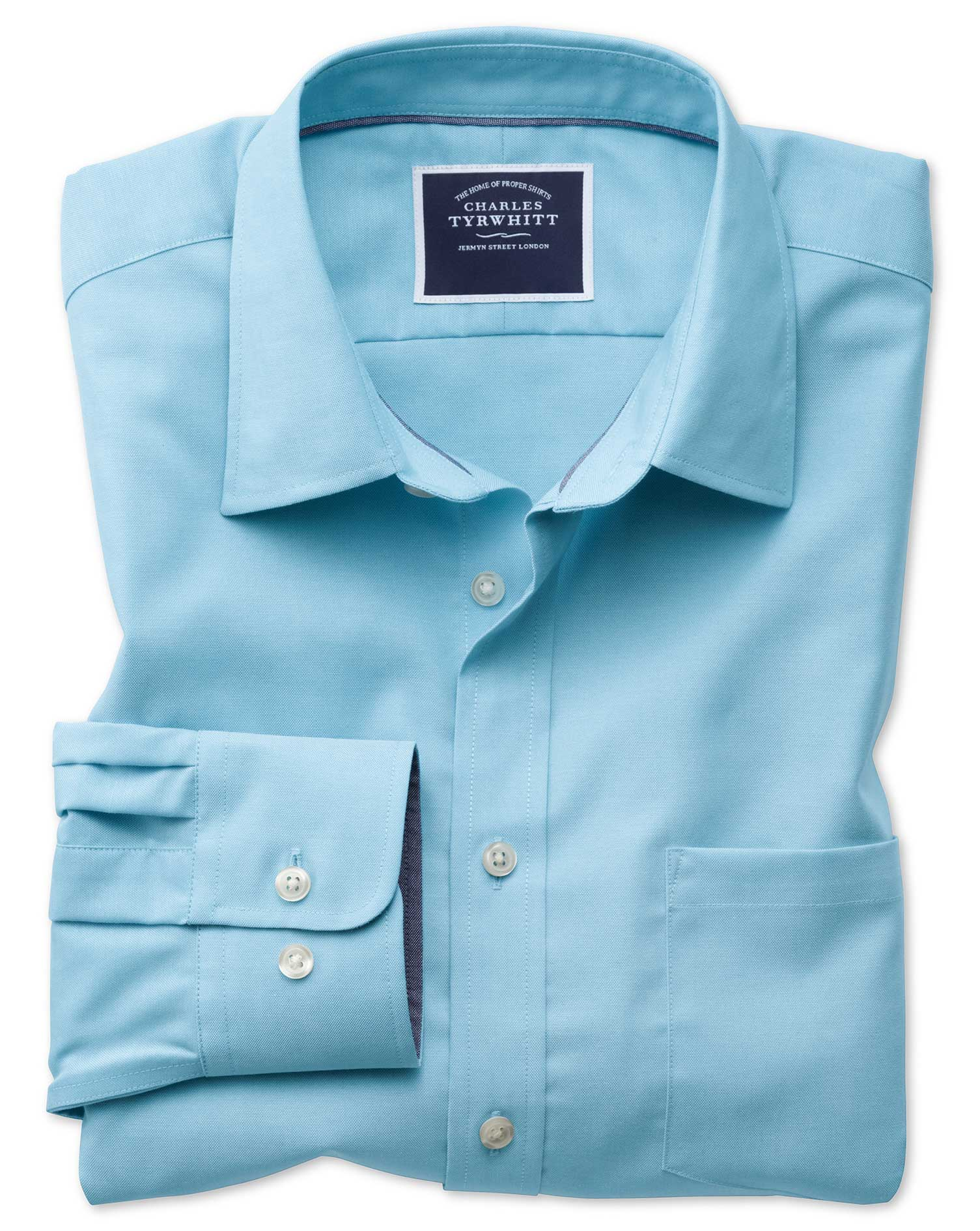 Slim Fit Non-Iron Oxford Turquoise Plain Cotton Shirt Single Cuff Size Small by Charles Tyrwhitt
