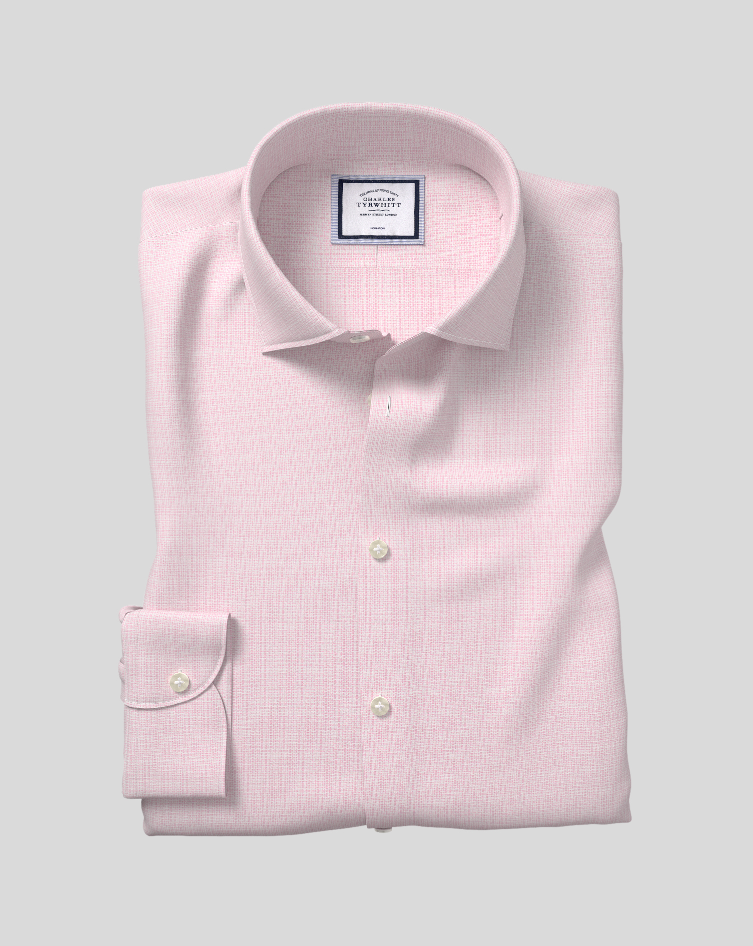 Cotton Business Casual Collar Non-Iron Natural Stretch Sketch Shirt - Pink