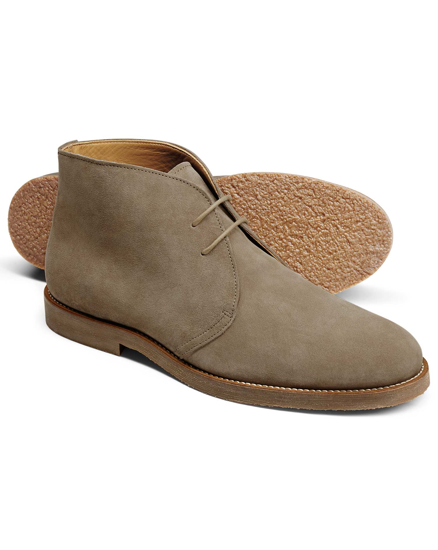 Stone Suede Desert Boot Size 9 R by Charles Tyrwhitt
