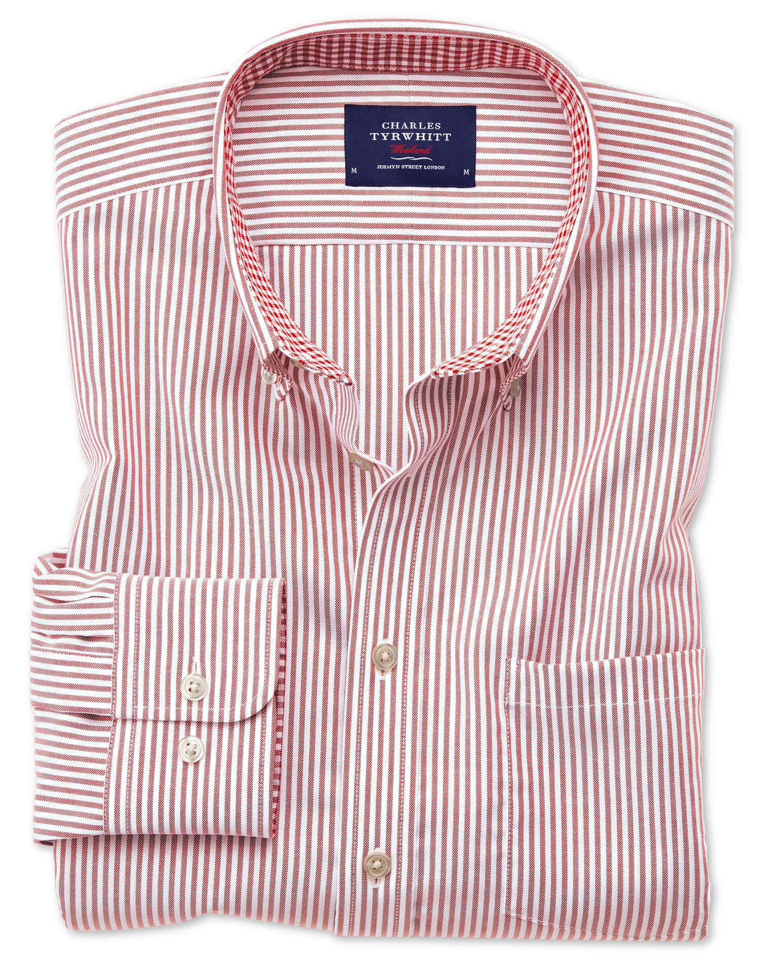 Classic Fit Button-Down Non-Iron Oxford Bengal Stripe Rust Cotton Shirt Single Cuff Size XL by Charl