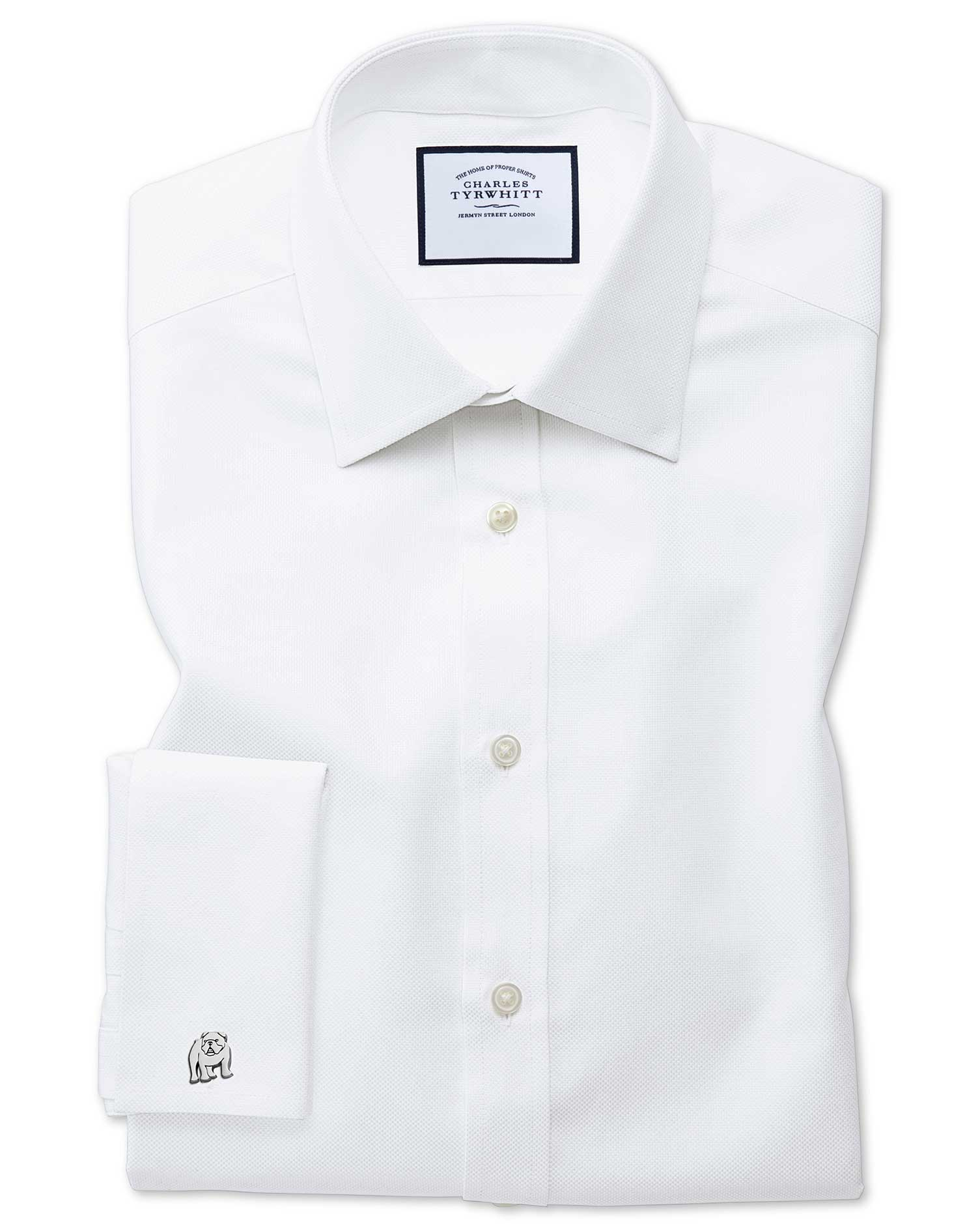 Extra Slim Fit Egyptian Cotton Royal Oxford White Formal Shirt Single Cuff Size 16.5/36 by Charles T