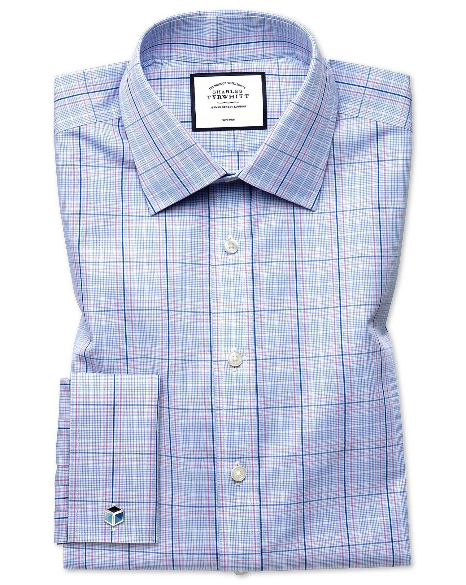 Slim Fit Non-Iron Prince Of Wales Sky Blue and Pink Cotton Formal Shirt Double Cuff Size 17.5/35 by