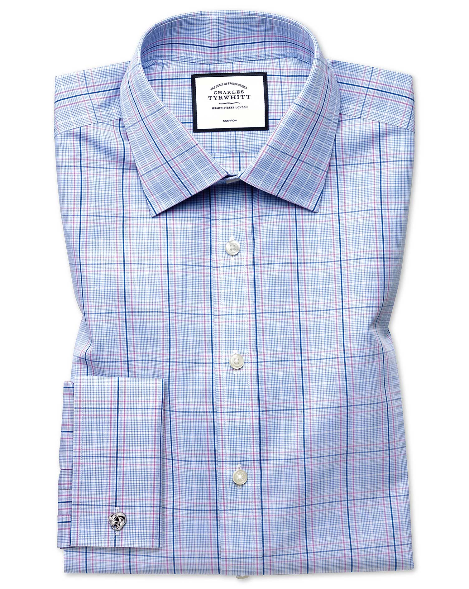 Extra Slim Fit Non-Iron Prince Of Wales Sky Blue and Pink Cotton Formal Shirt Double Cuff Size 15/35