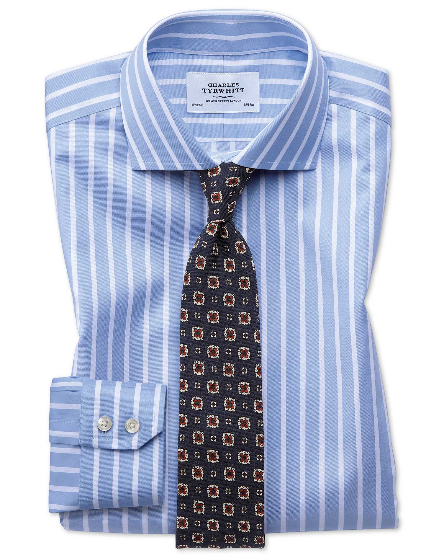 Extra slim fit spread collar non iron bengal wide stripe for Wide spread collar shirt