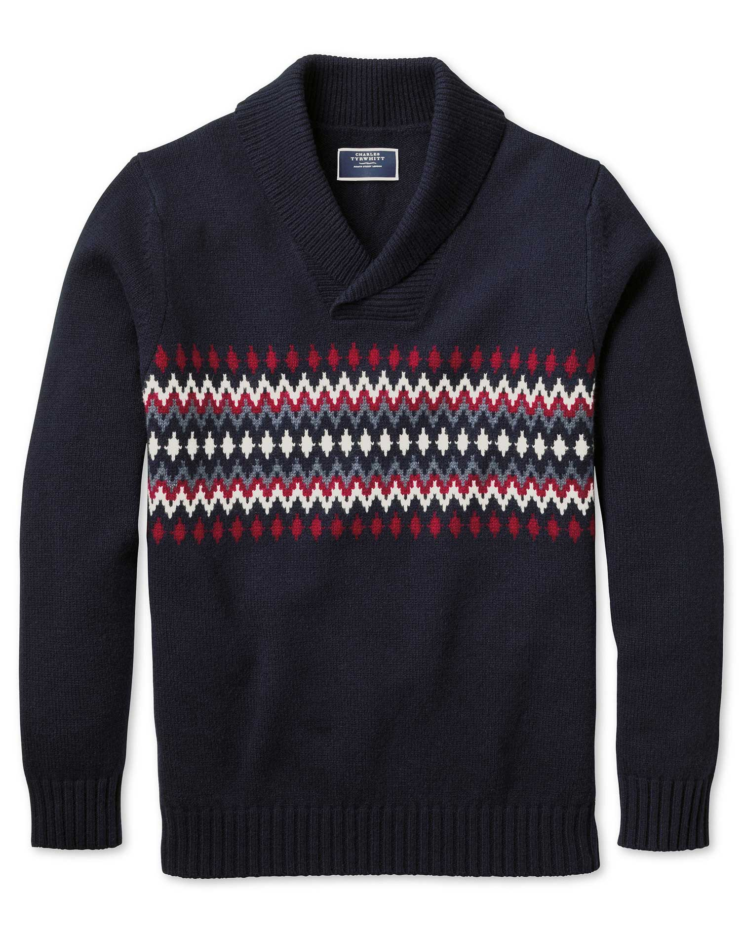 Navy and Red Shawl Collar Fair Isle Wool Jumper Size Small by Charles Tyrwhitt