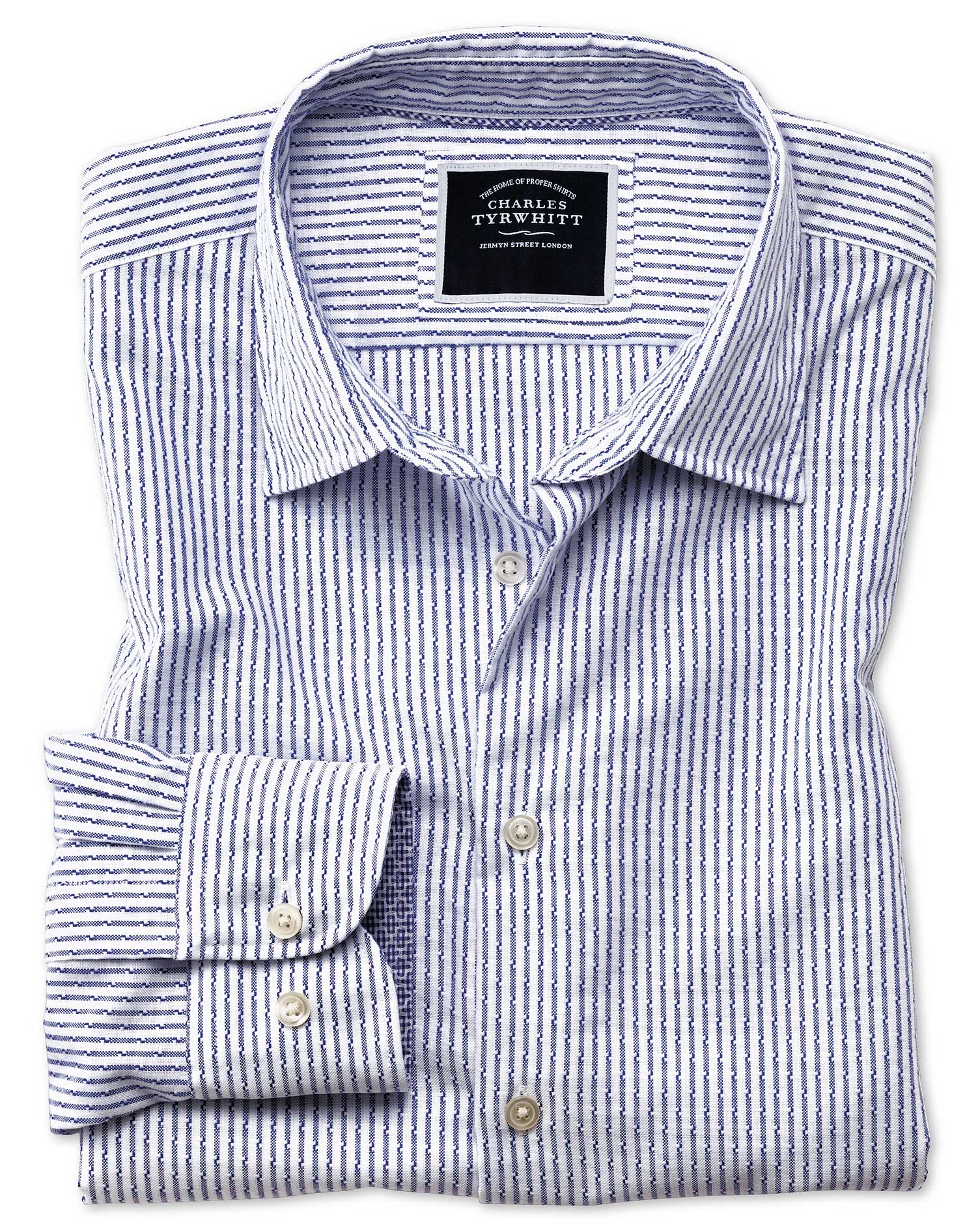 Slim Fit Washed White and Blue Striped Textured Cotton Shirt Single Cuff Size XS by Charles Tyrwhitt