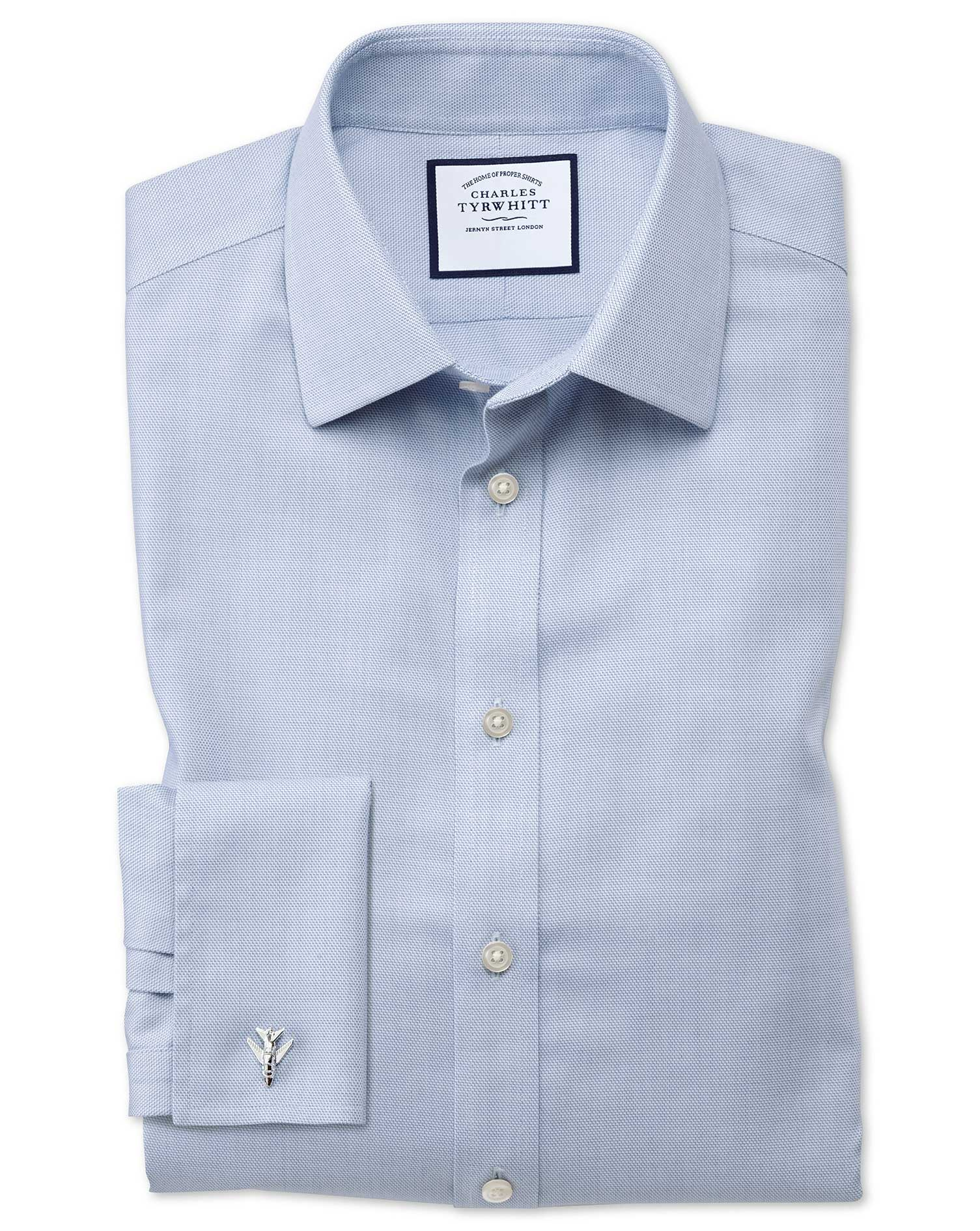 Extra Slim Fit Non-Iron Step Weave Mid Blue Cotton Formal Shirt Double Cuff Size 14.5/32 by Charles