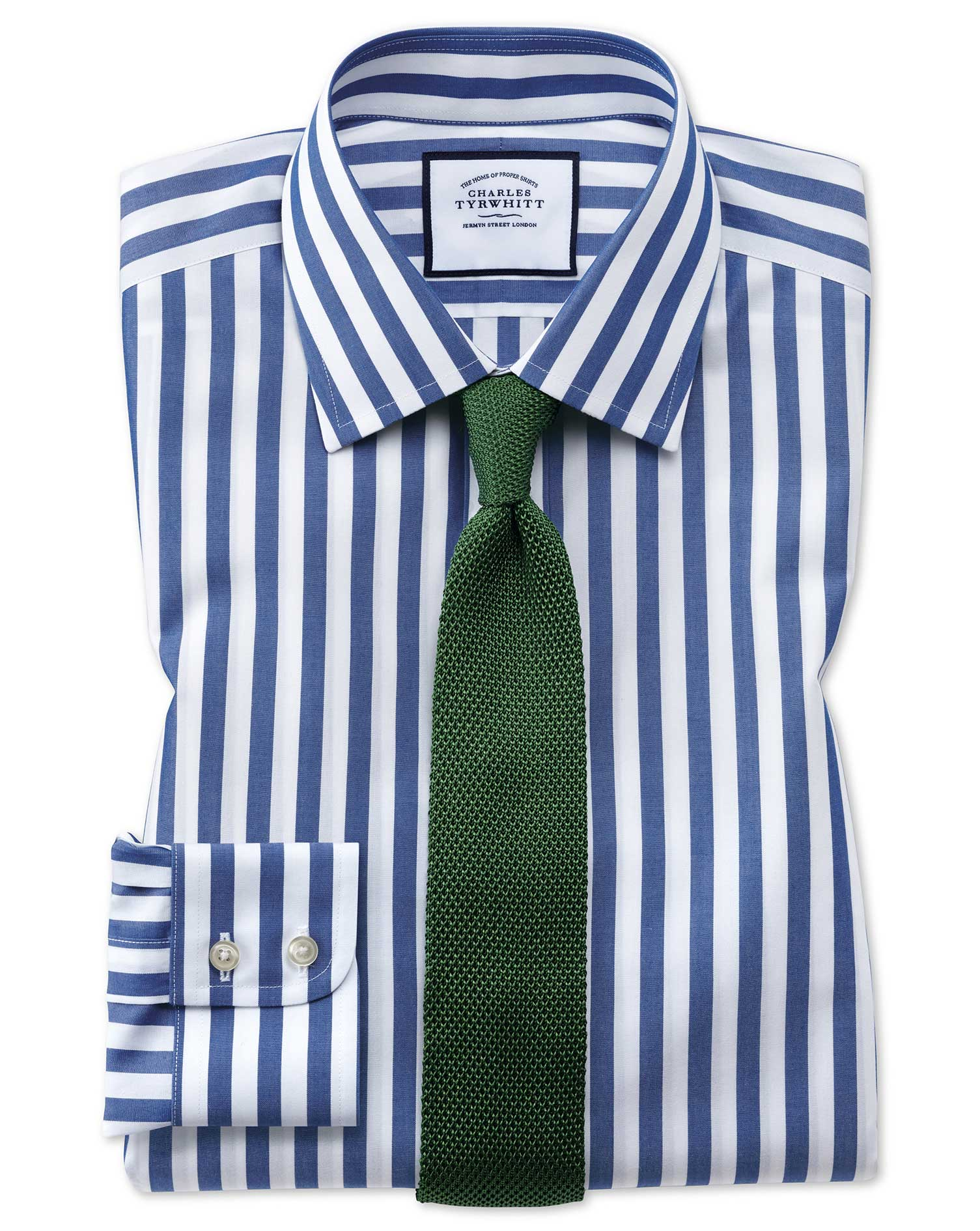 Slim Fit Non-Iron Jermyn Street Stripes Blue Cotton Formal Shirt Single Cuff Size 18/37 by Charles T
