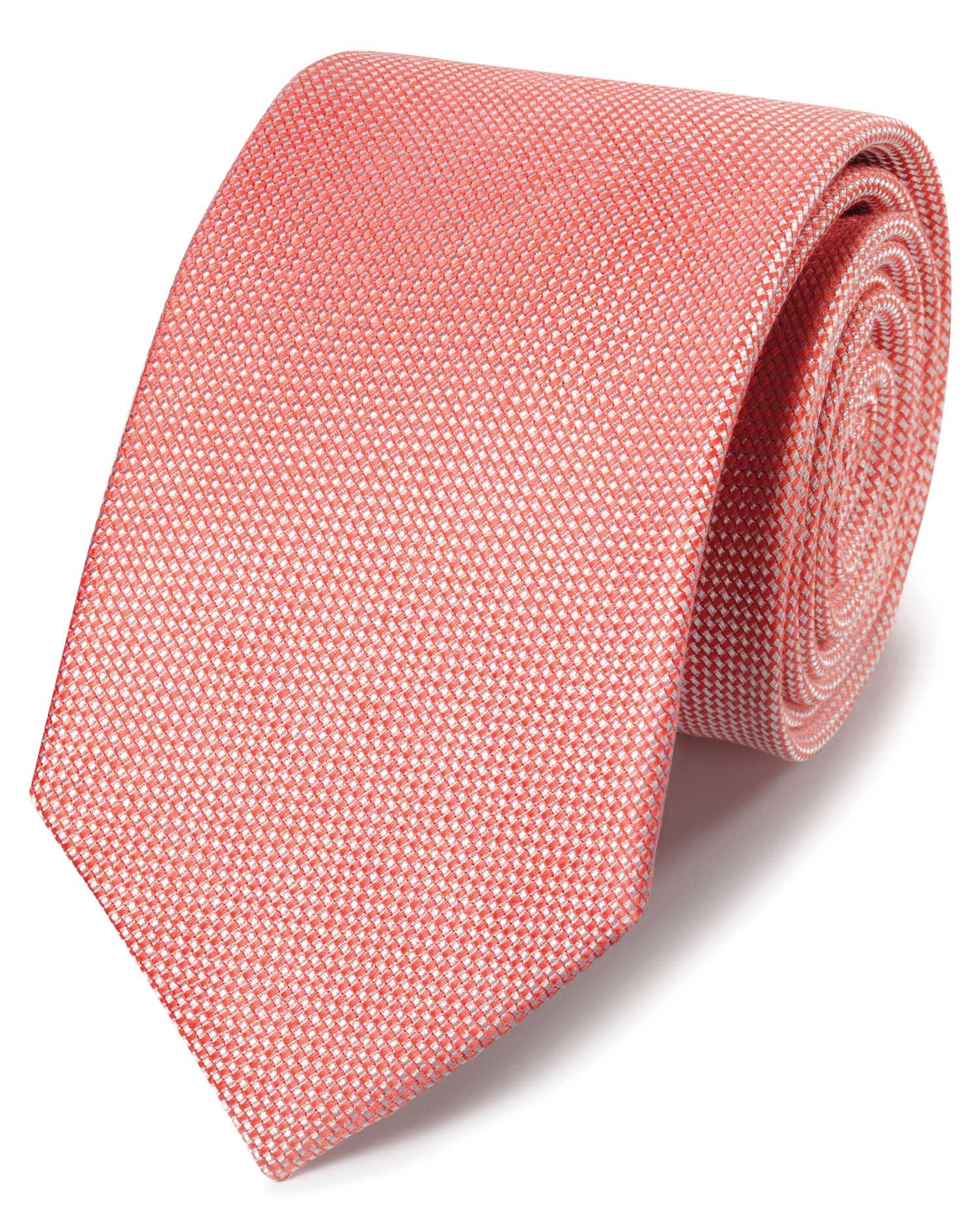 Klassische Krawatte Leinen/Seide Einfarbig in Korallenrot