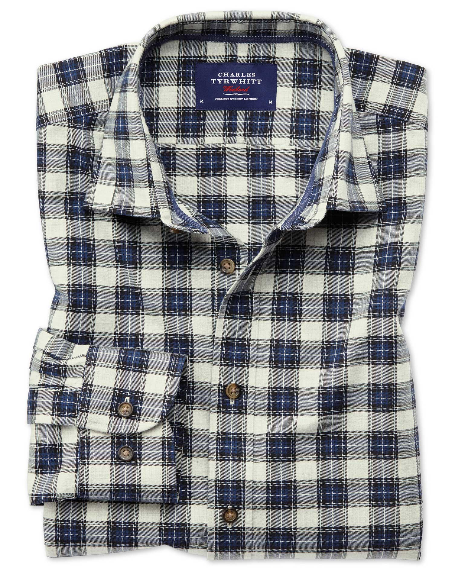 Slim Fit Heather Tartan Silver and Blue Check Cotton Shirt Single Cuff Size XS by Charles Tyrwhitt