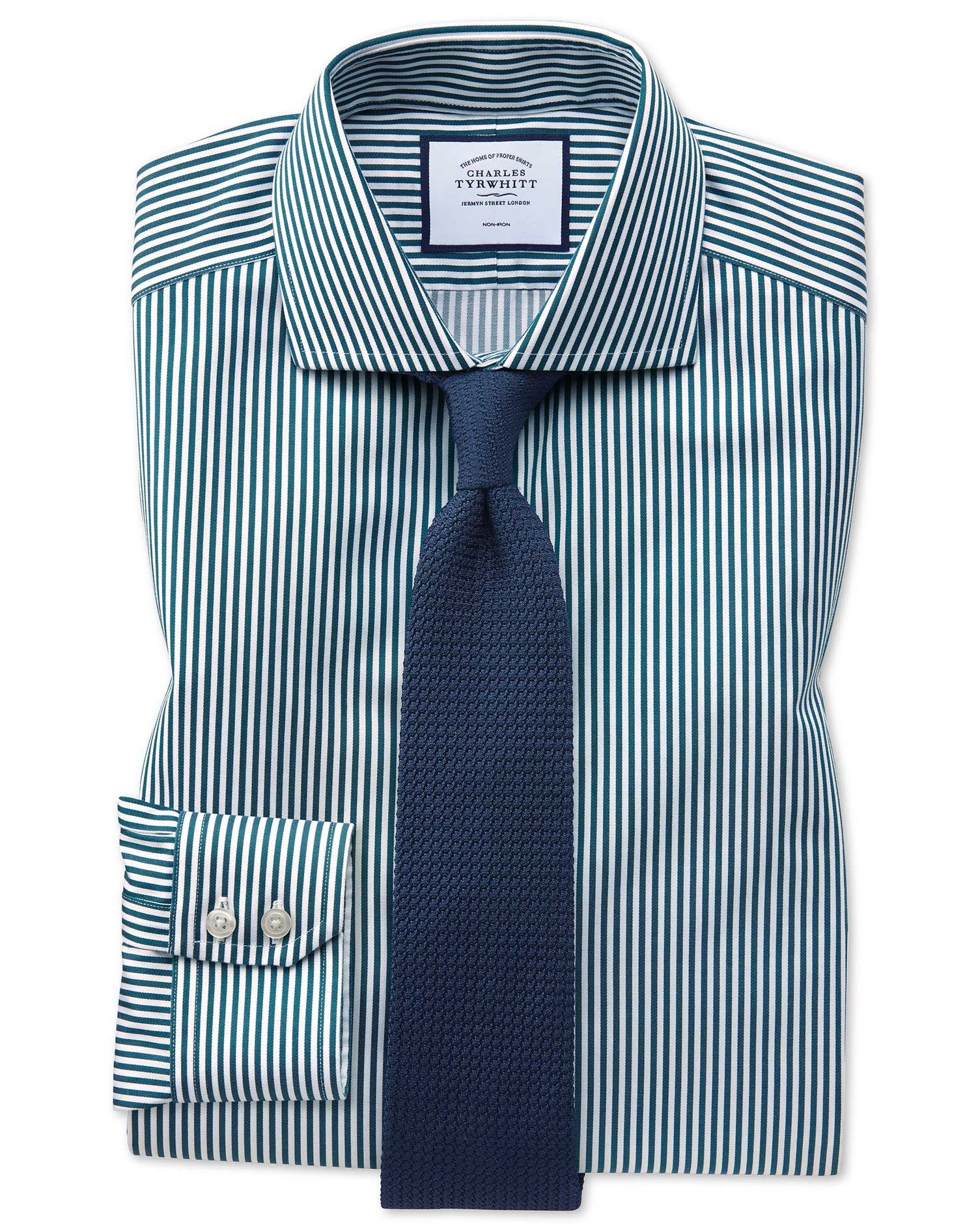 Extra Slim Fit Non-Iron Cutaway Collar Teal Twill Stripe Cotton Formal Shirt Single Cuff Size 14.5/3