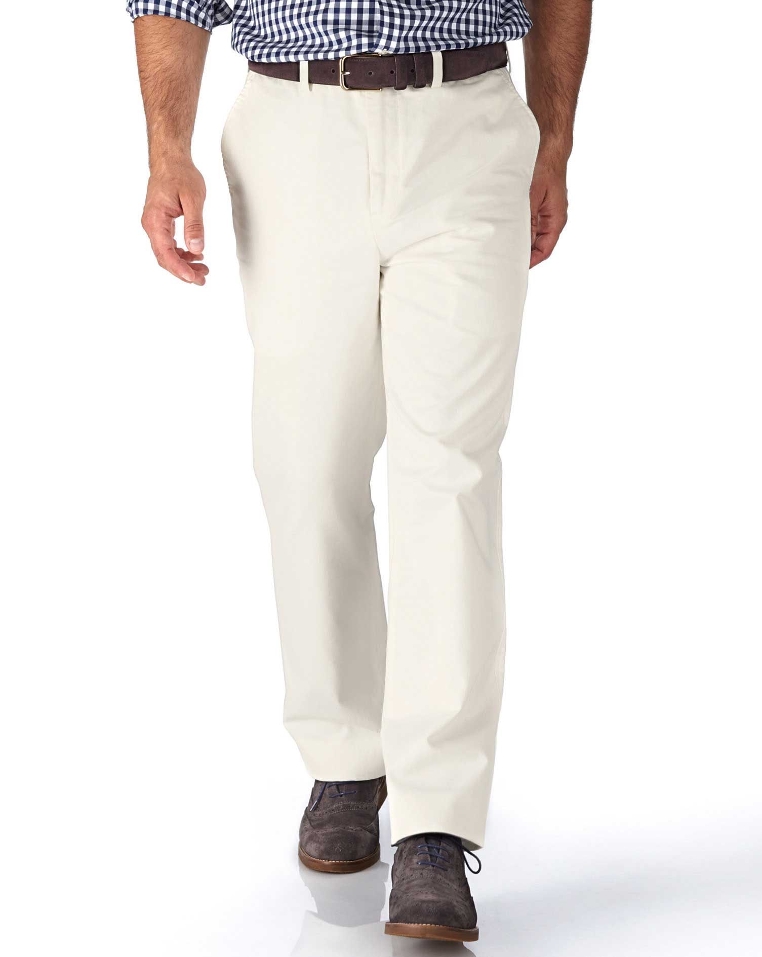 White Classic Fit Flat Front Weekend Cotton Chino Trousers Size W36 L29 by Charles Tyrwhitt