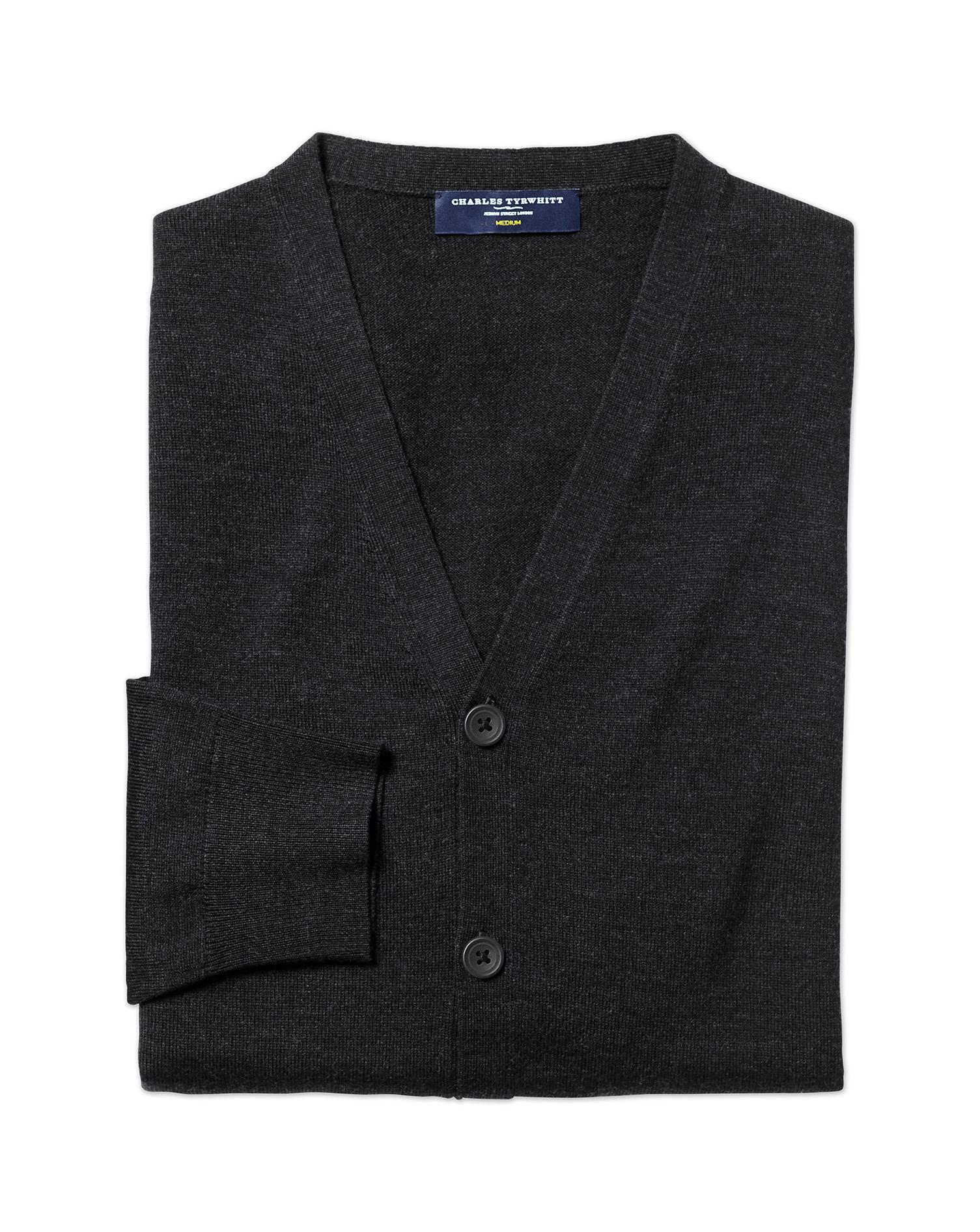 Dark Charcoal Merino Merino Wool Cardigan Size XXXL by Charles Tyrwhitt