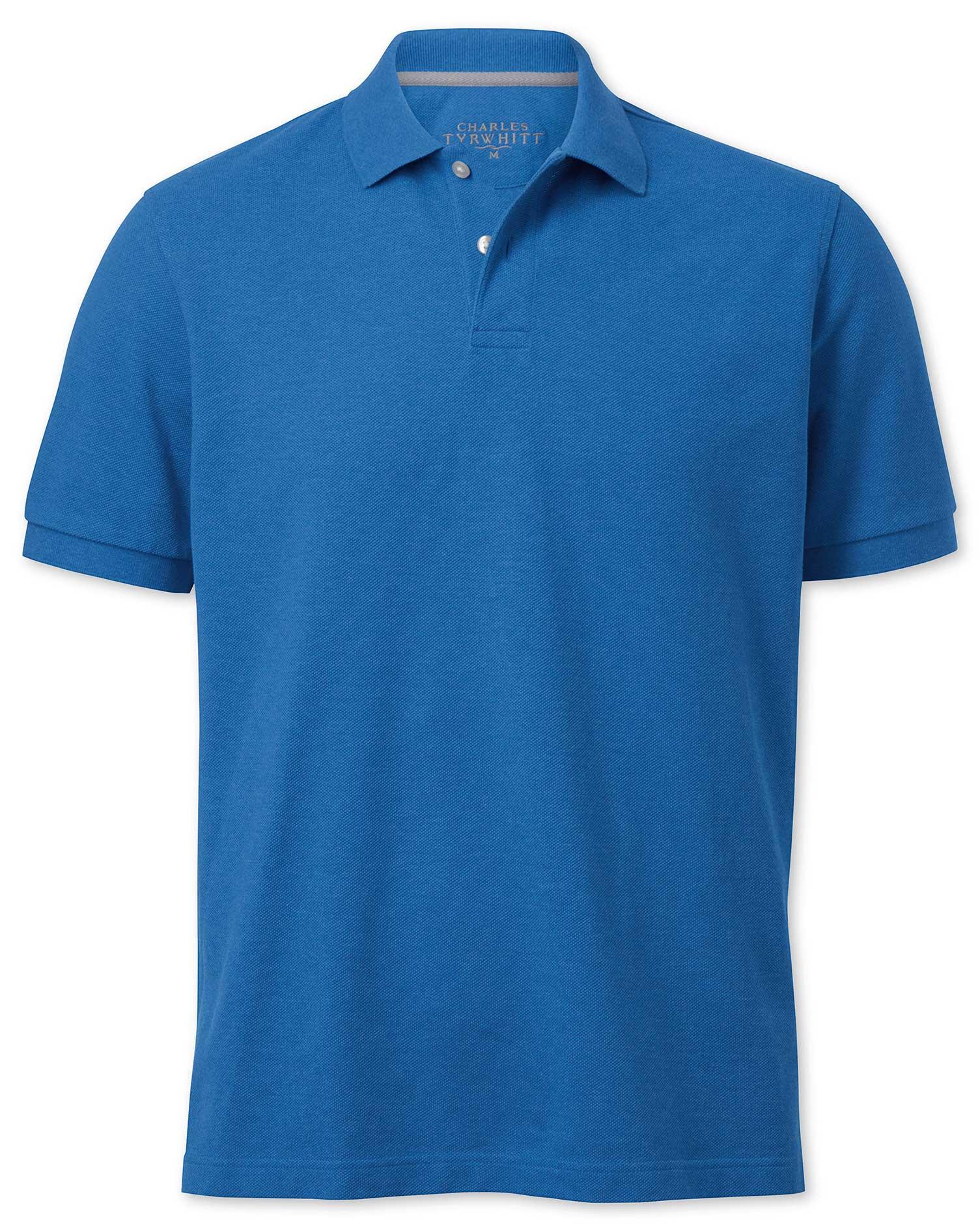 Blue Melange Pique Cotton Polo Size XXL by Charles Tyrwhitt