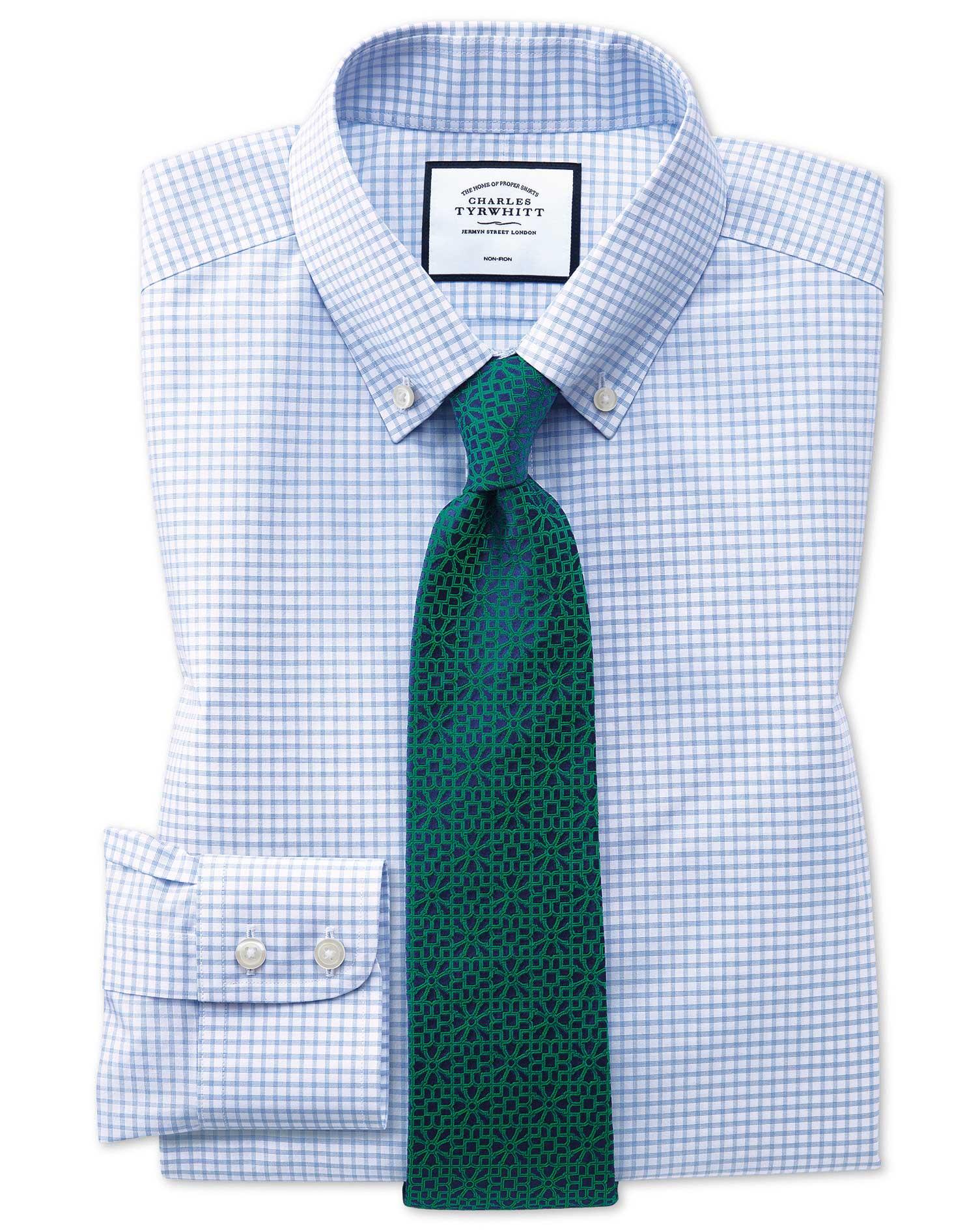 Slim Fit Button-Down Non-Iron Sky Blue Windowpane Check Cotton Formal Shirt Single Cuff Size 17/35 b