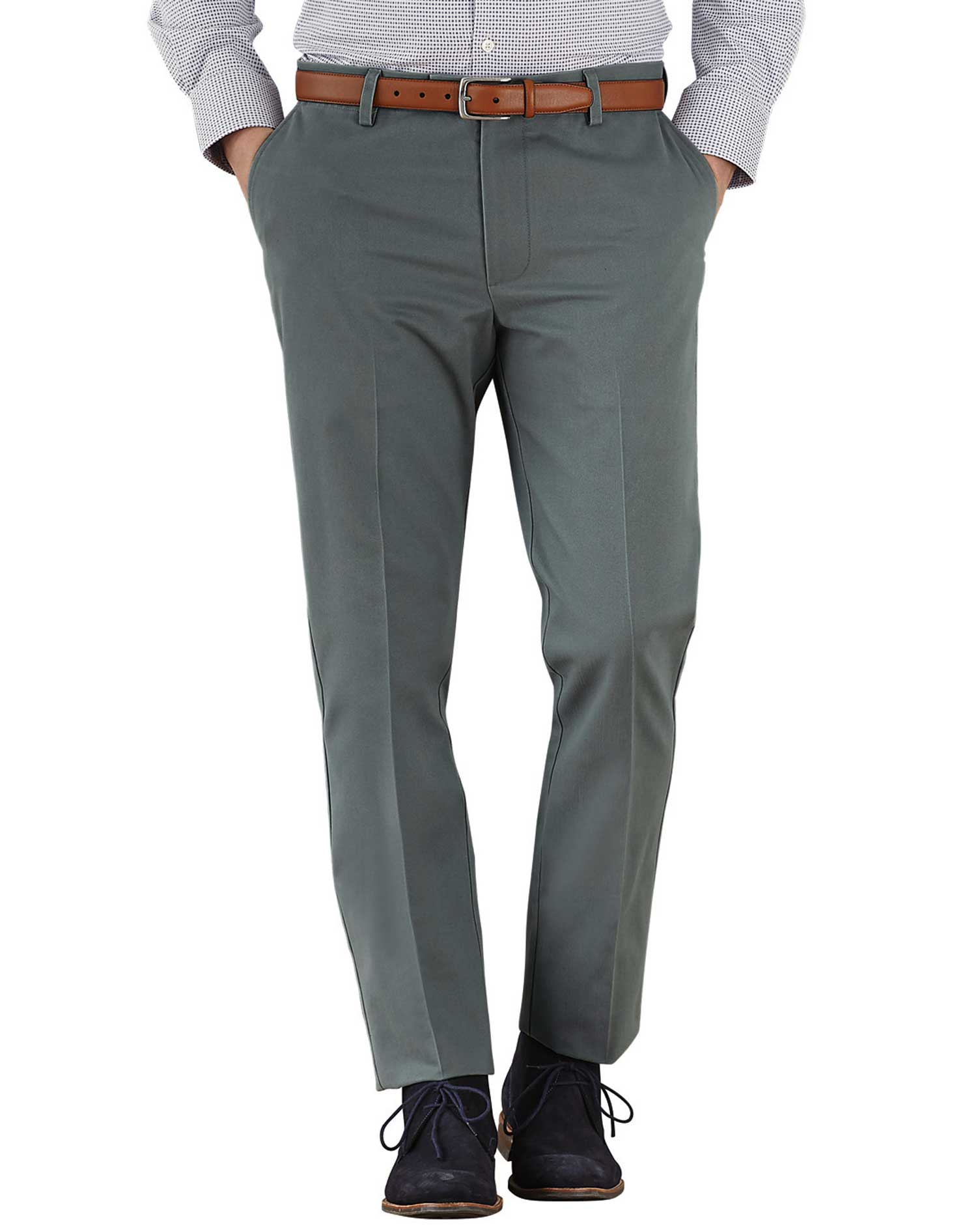 Grey Extra Slim Fit Flat Front Non-Iron Cotton Chino Trousers Size W34 L34 by Charles Tyrwhitt
