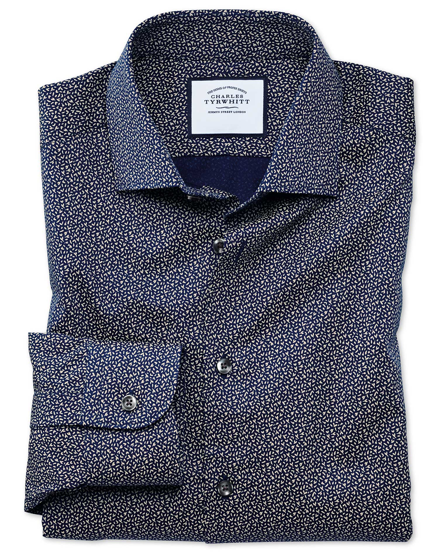 Slim Fit Business Casual Navy and White Print Cotton Formal Shirt Single Cuff Size 17.5/38 by Charle