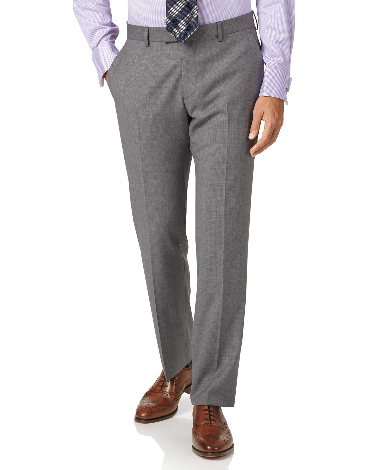 Silver Slim Fit Cross Hatch Italian Suit Trousers Size W34 L34 by Charles Tyrwhitt