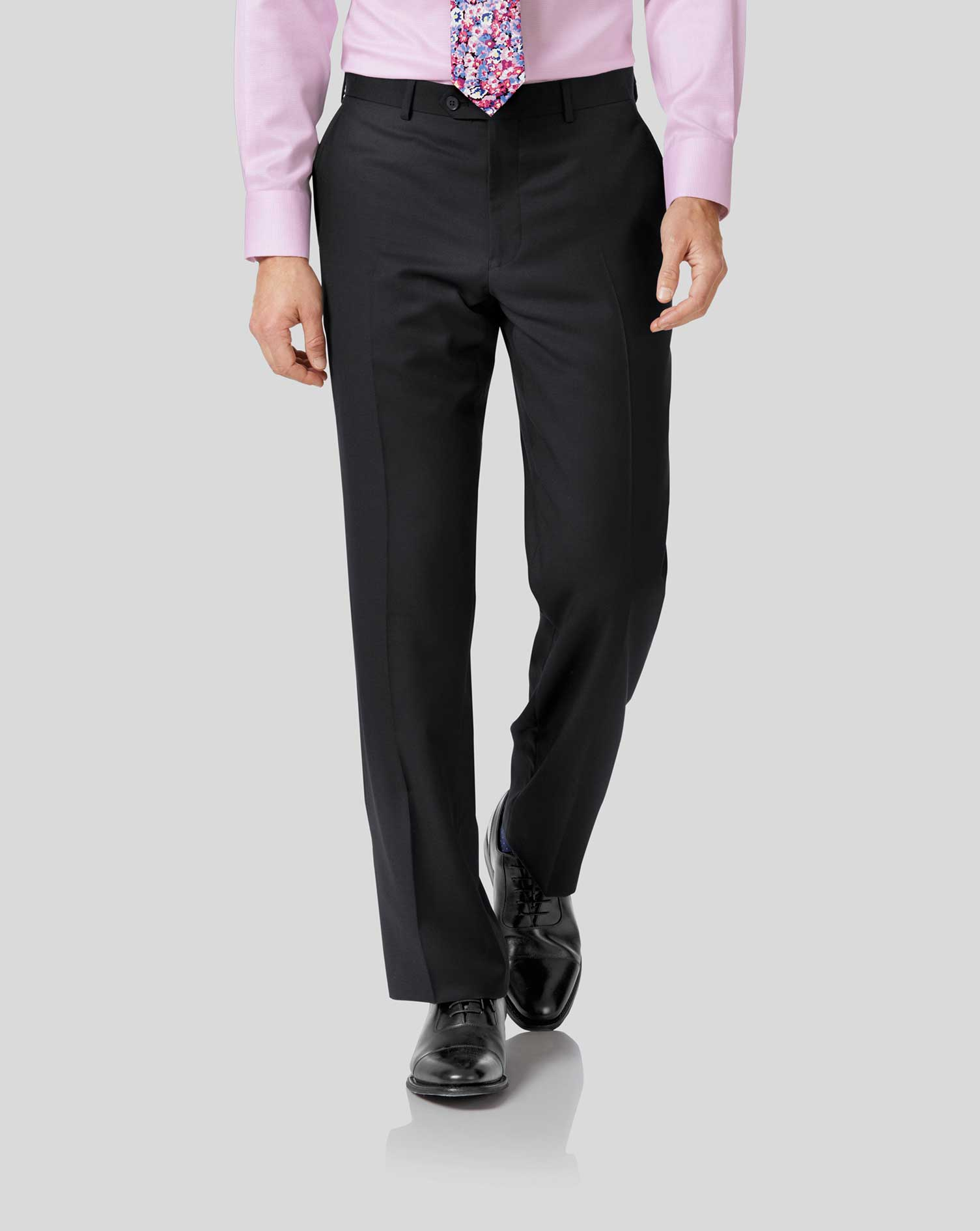 Black Classic Fit Twill Business Suit Trousers Size W42 L32 by Charles Tyrwhitt