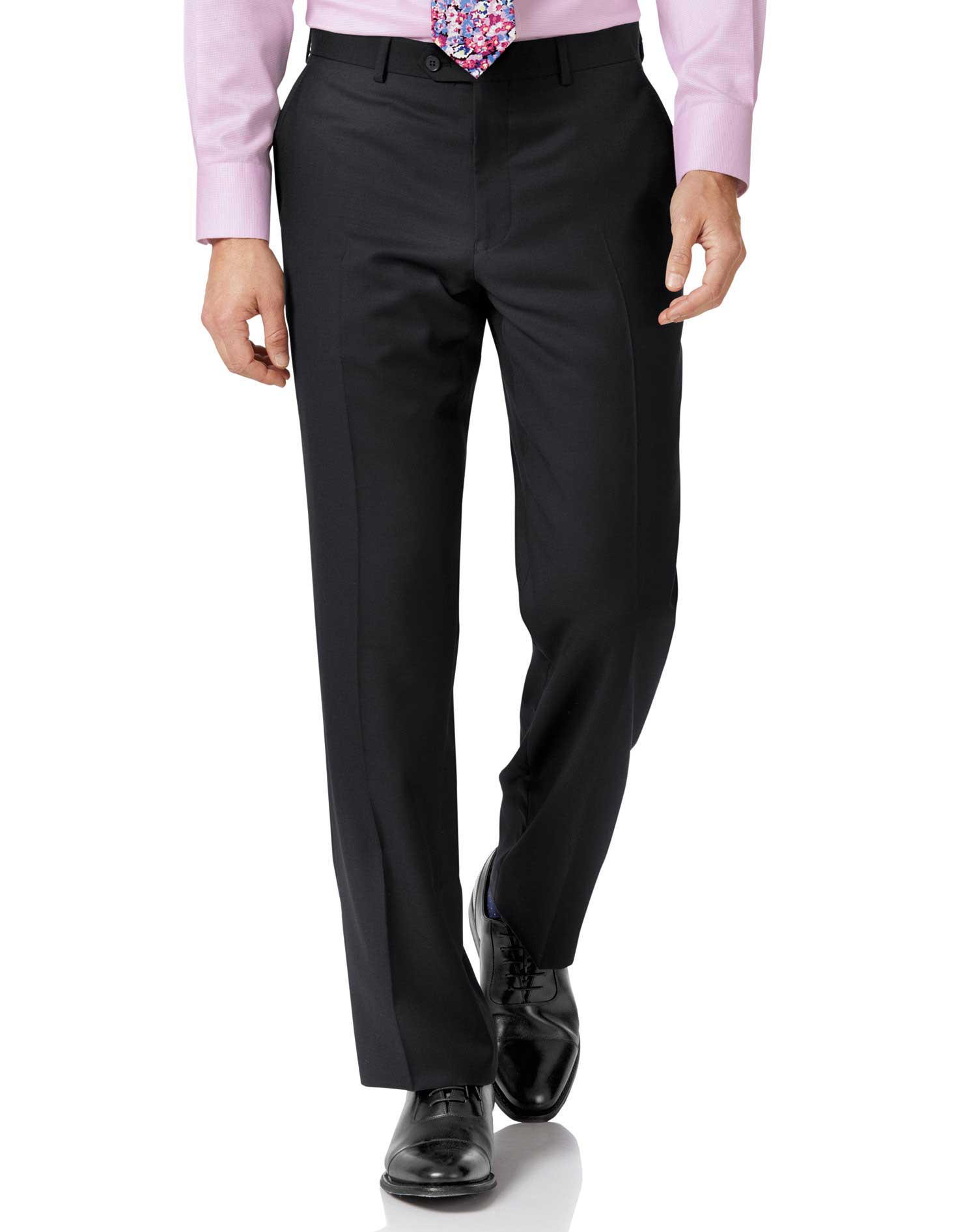 Black Classic Fit Twill Business Suit Trousers Size W34 L34 by Charles Tyrwhitt