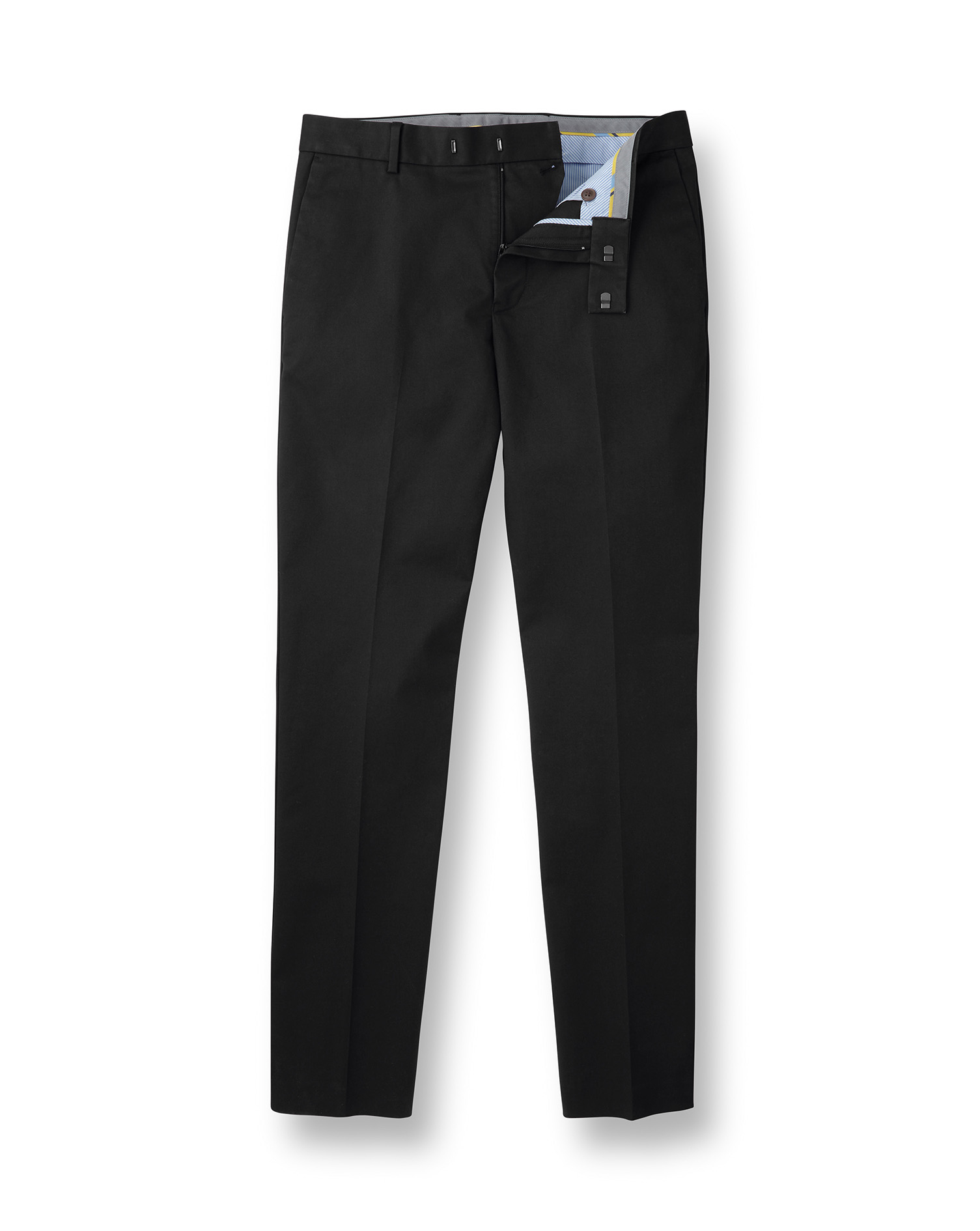 Cotton Black Flat Front Non-Iron Chinos