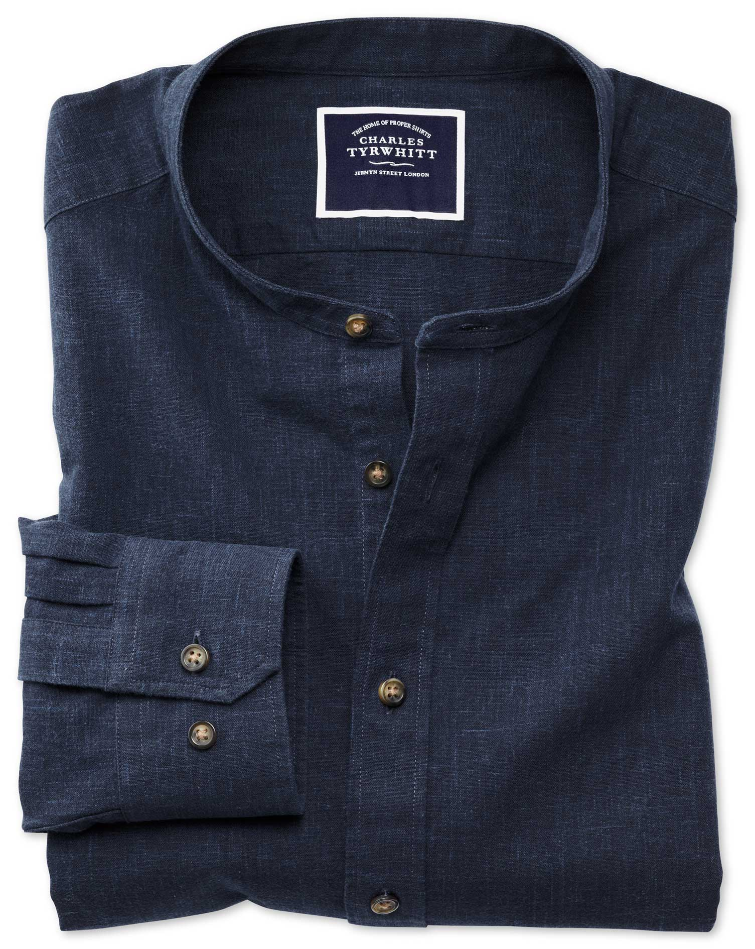 Slim Fit Collarless Navy Cotton Shirt Single Cuff Size Large by Charles Tyrwhitt
