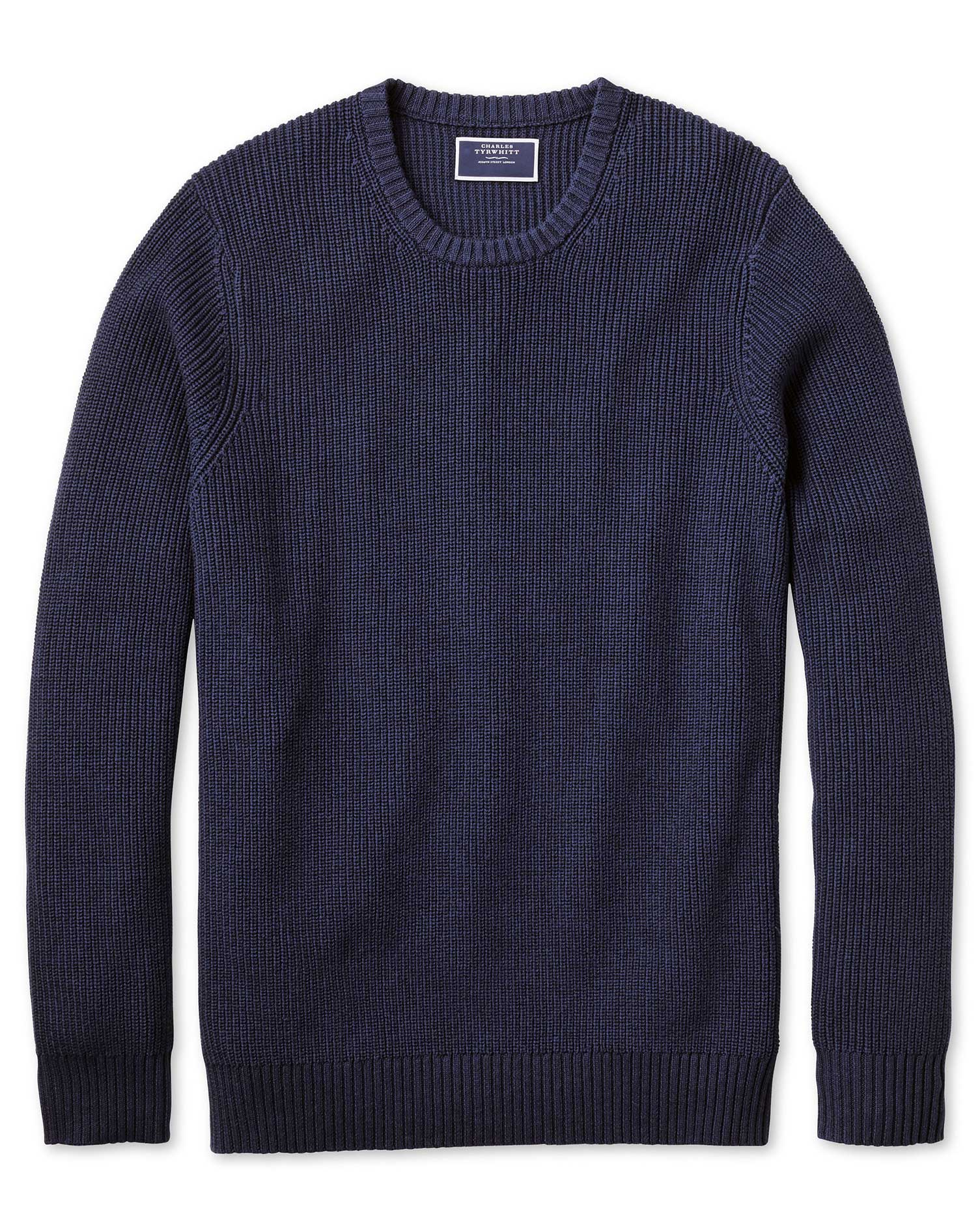 Navy Crew Neck Pima Cotton Yak Rib Jumper Size XS by Charles Tyrwhitt