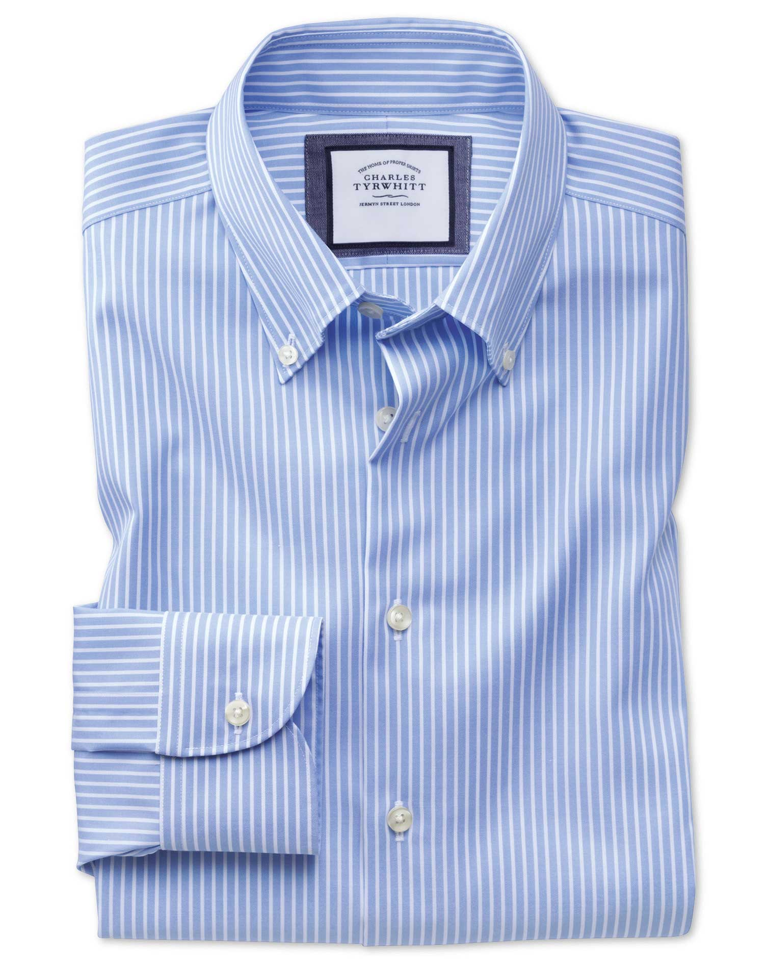 Extra Slim Fit Button-Down Business Casual Non-Iron Sky Blue and White Stripe Cotton Formal Shirt Si